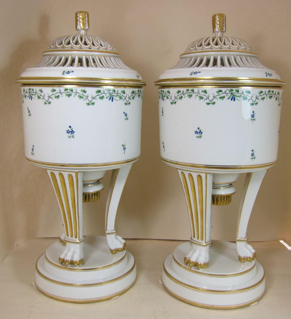 antique pair vienna porcelain ice pails lids liners