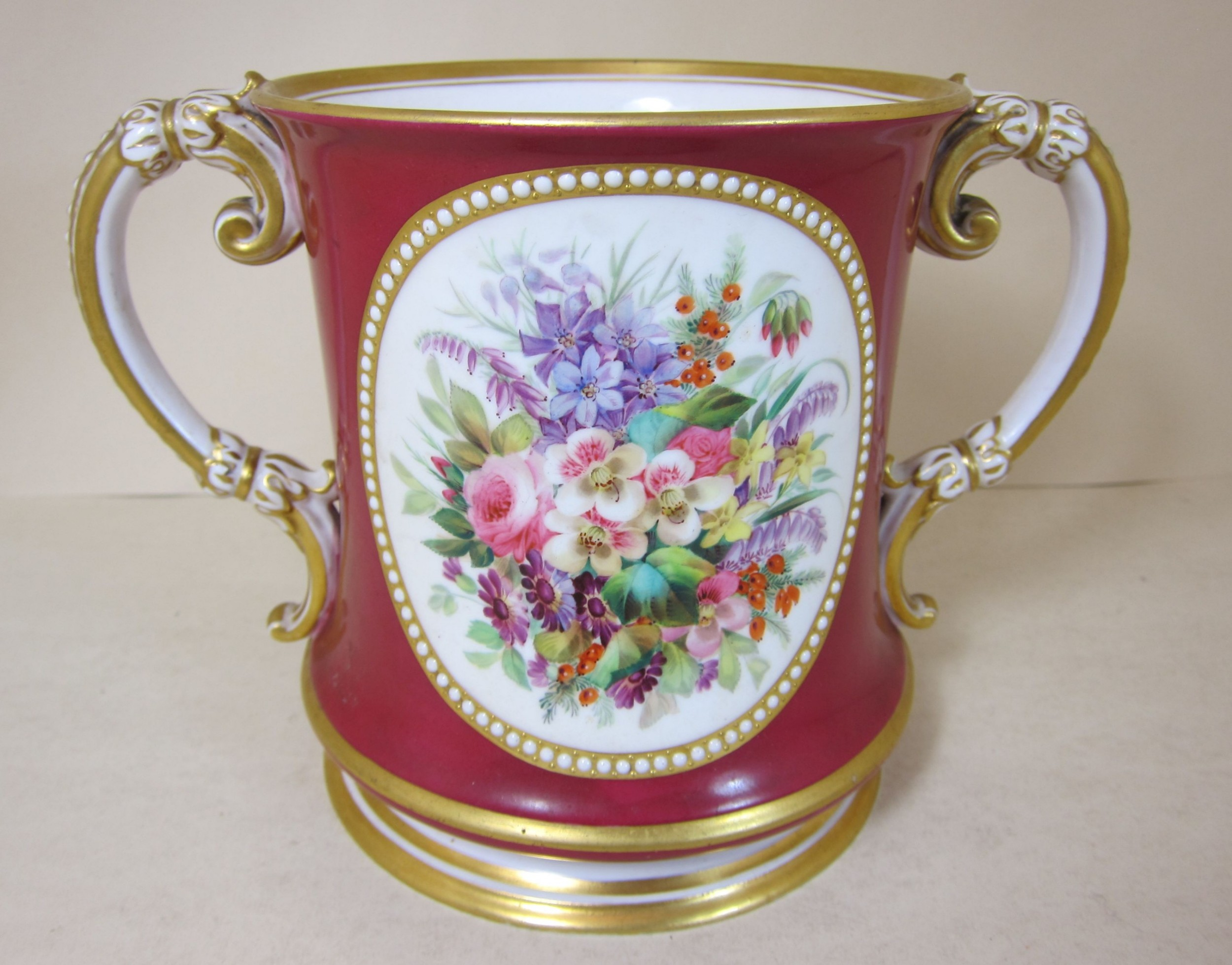 english porcelain 2 handled loving cup with floral verse sides