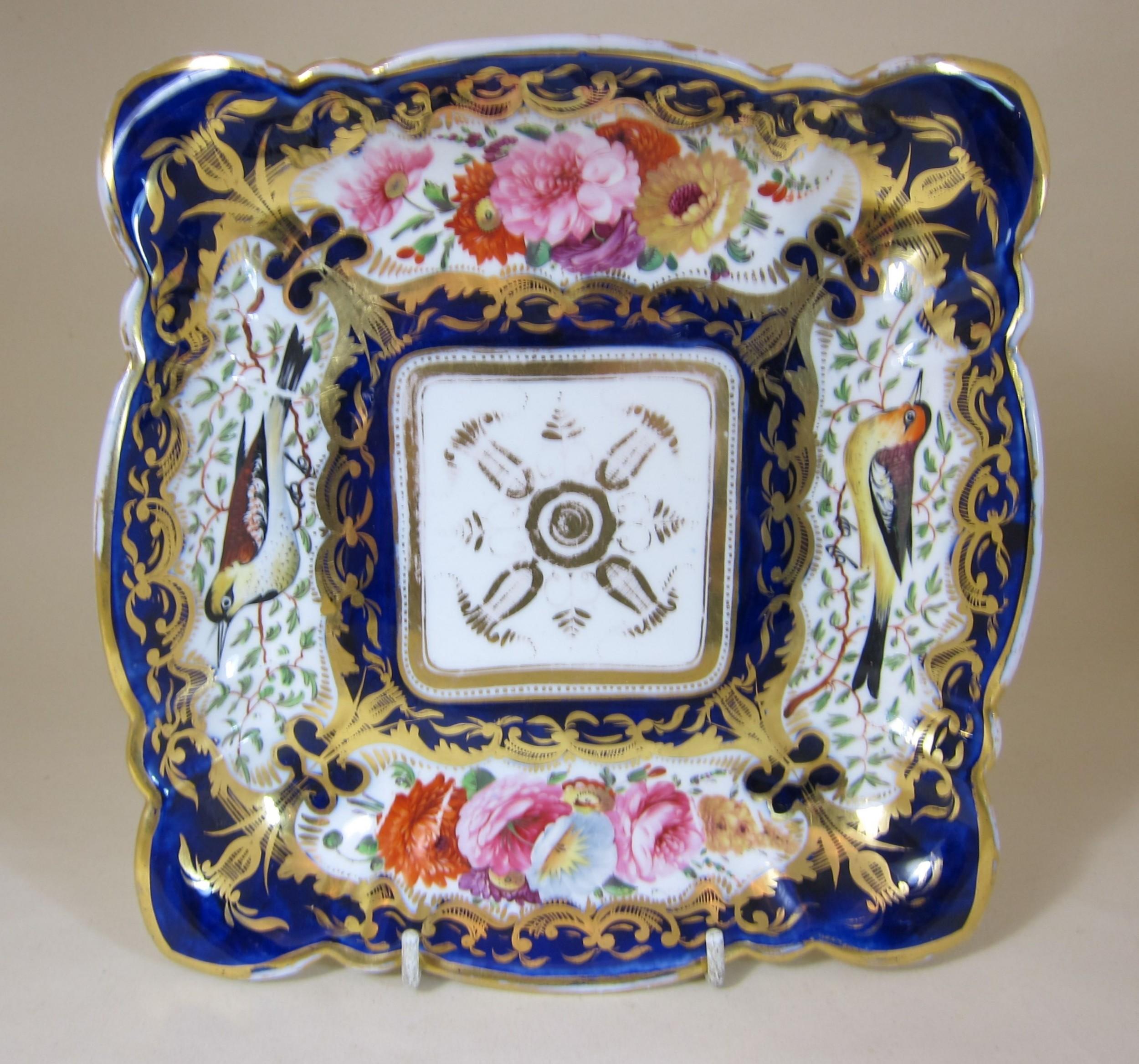 coalport porcelain 850 square dish decorated with birds flowers