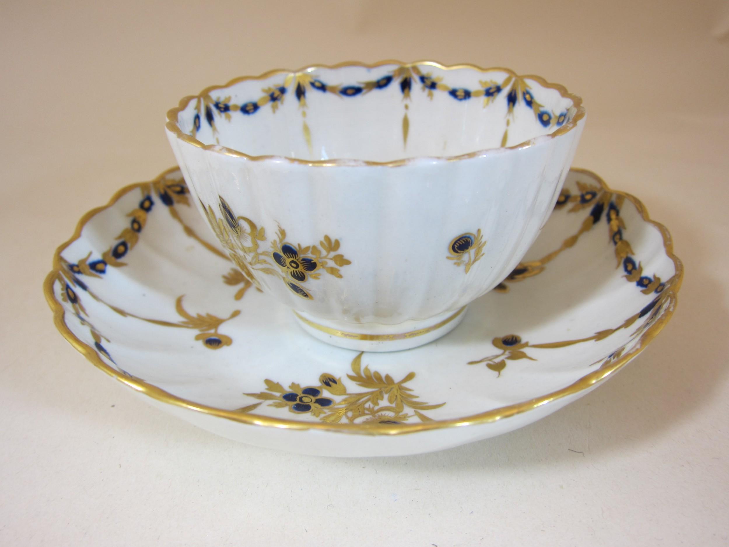 barr worcester porcelain fluted teabowl saucer
