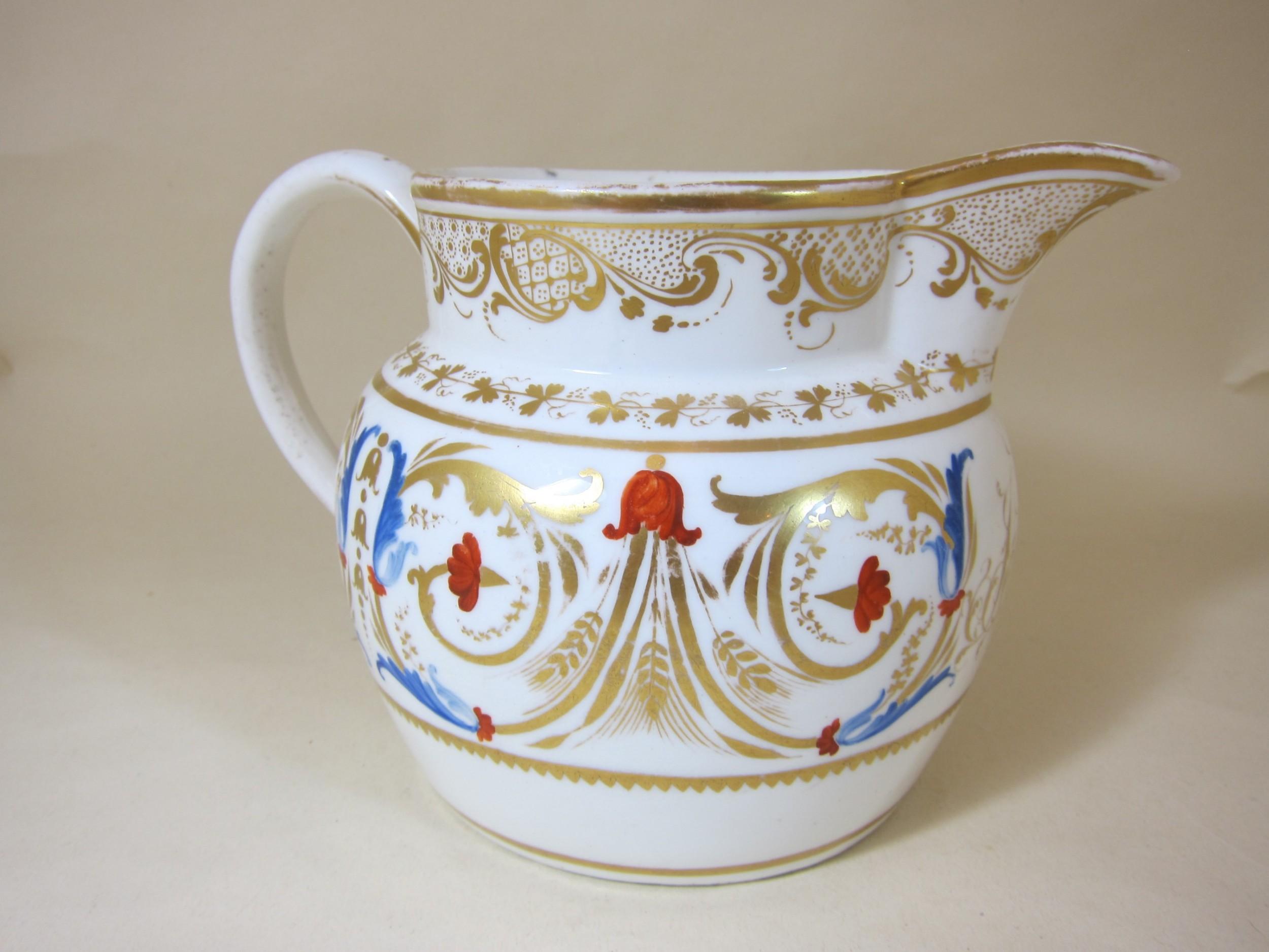 english porcelain gilt initialed 5 jug