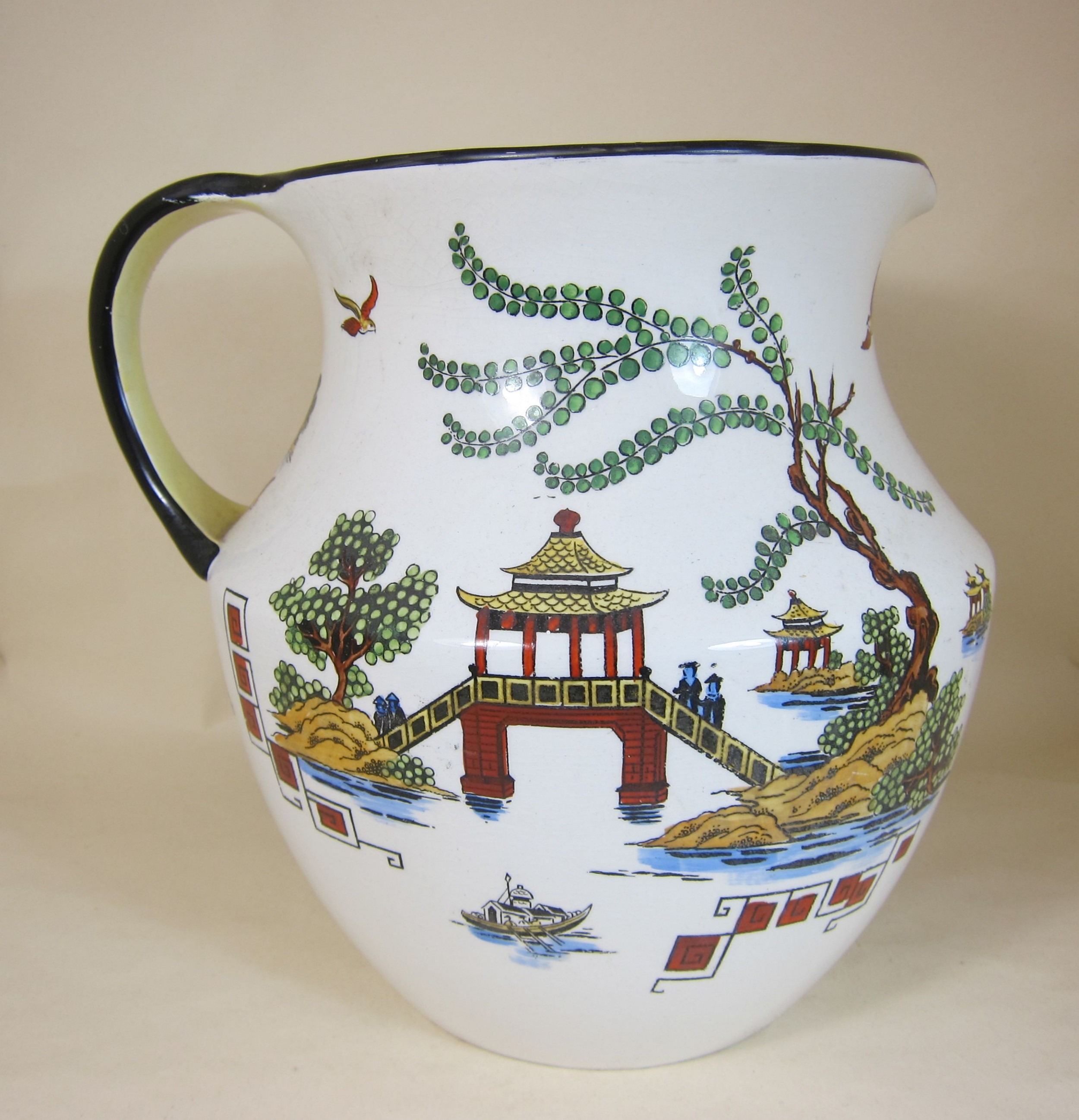 bisto pottery 975 jug decorated with chinese scenes