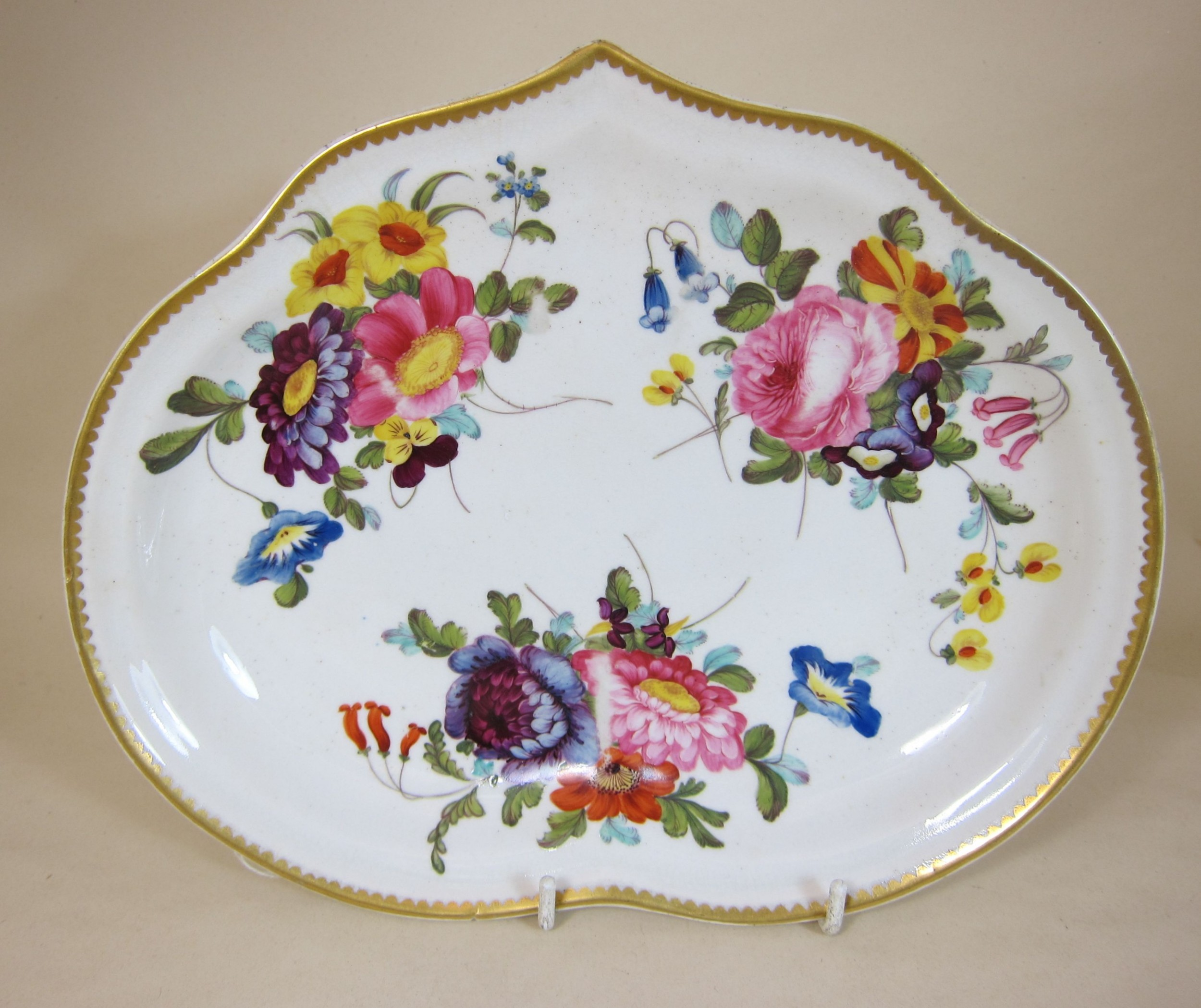 derby porcelain hand painted flowers kidney shaped dish