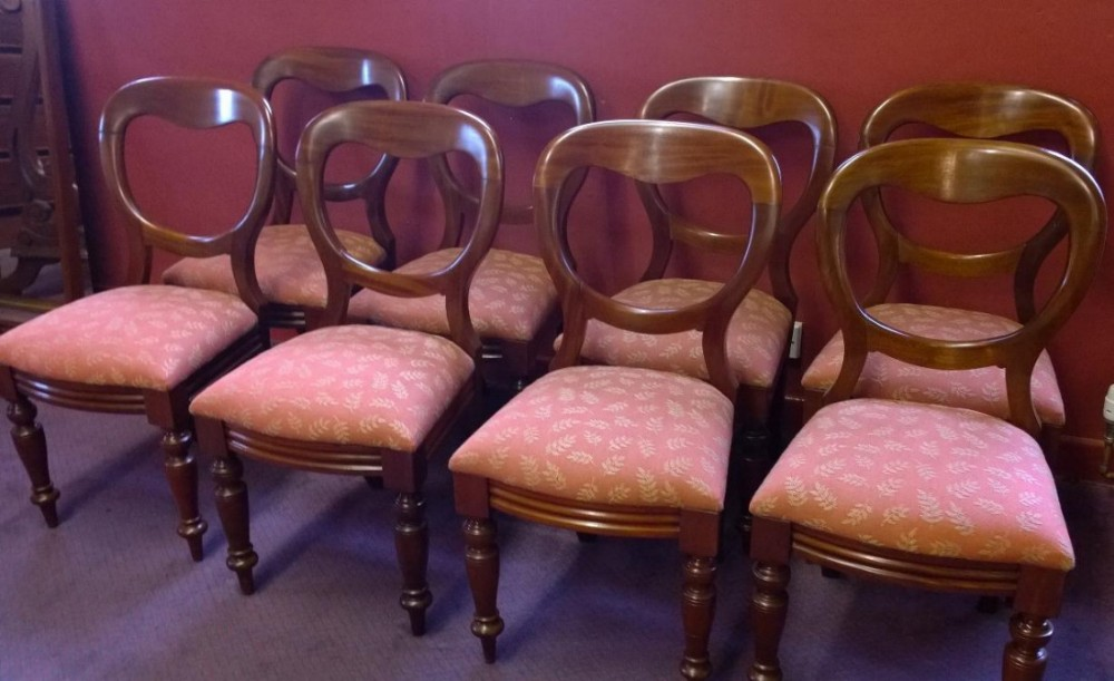 set of eight victorian mahogany balloon back dining chairs