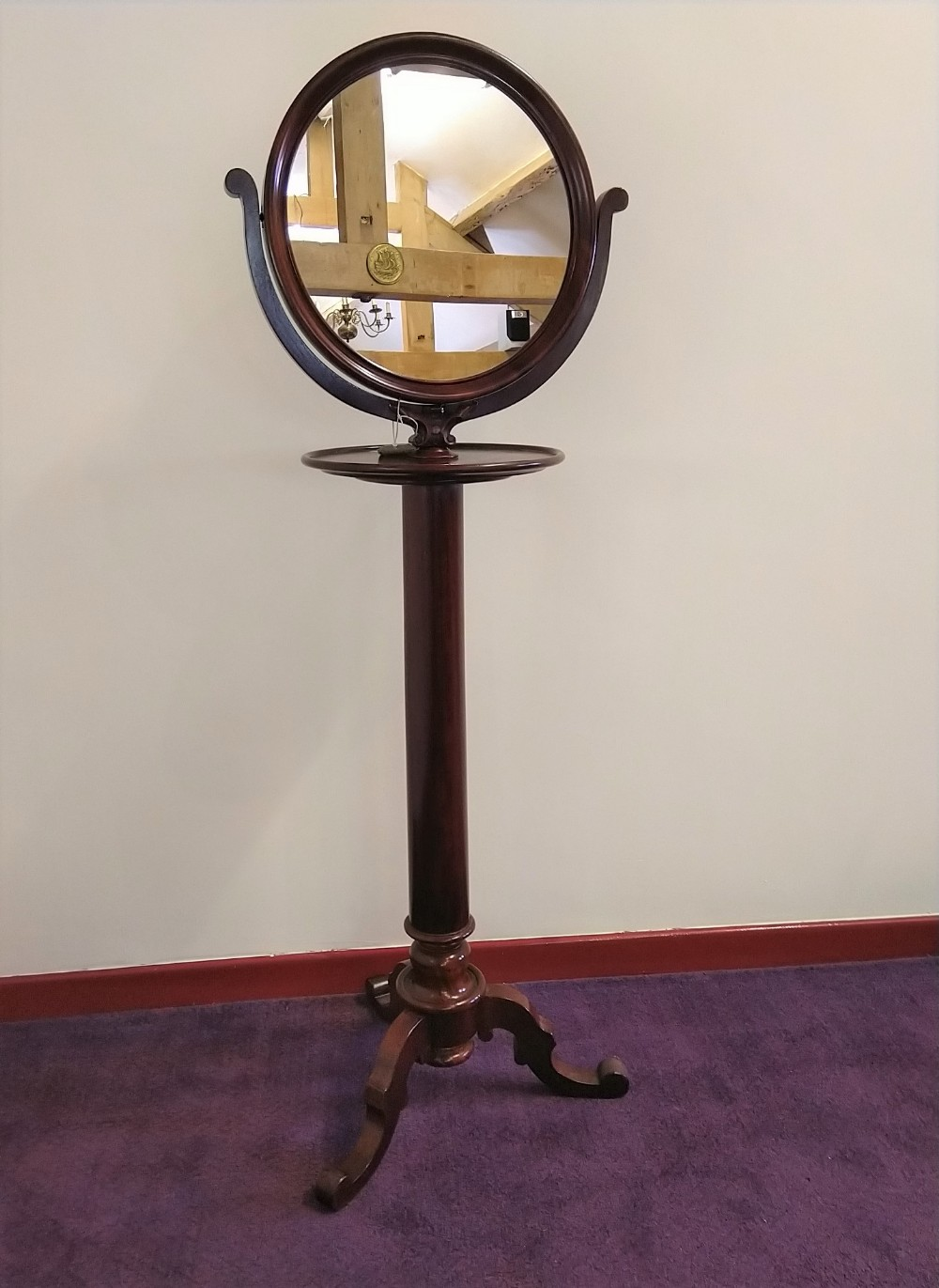 quality 19th century shaving or make up stand in mahogany