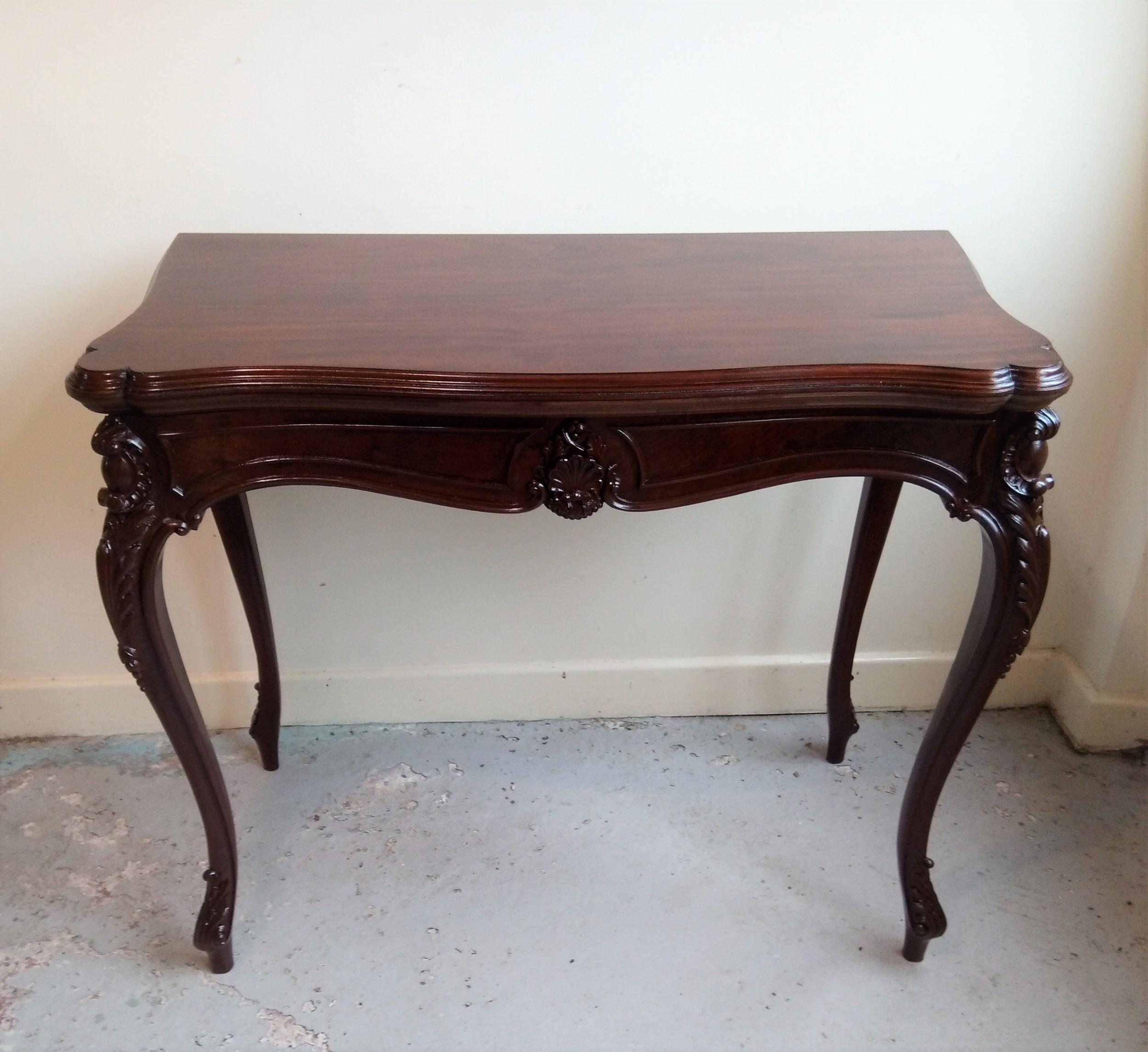 mahogany fold over table on elegant cabriole leg 575968