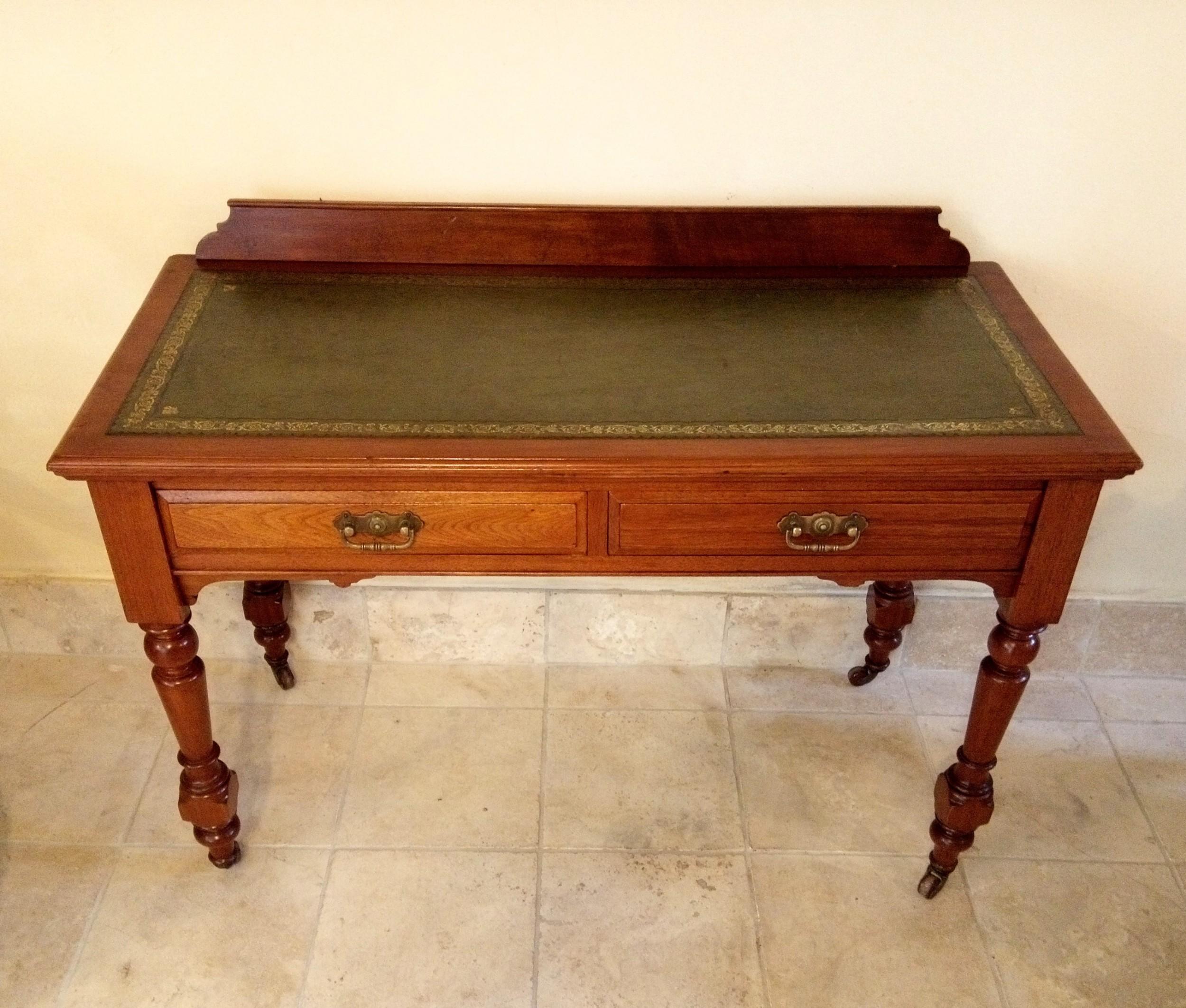 writing table in walnut c1900 very tidyoriginal handles