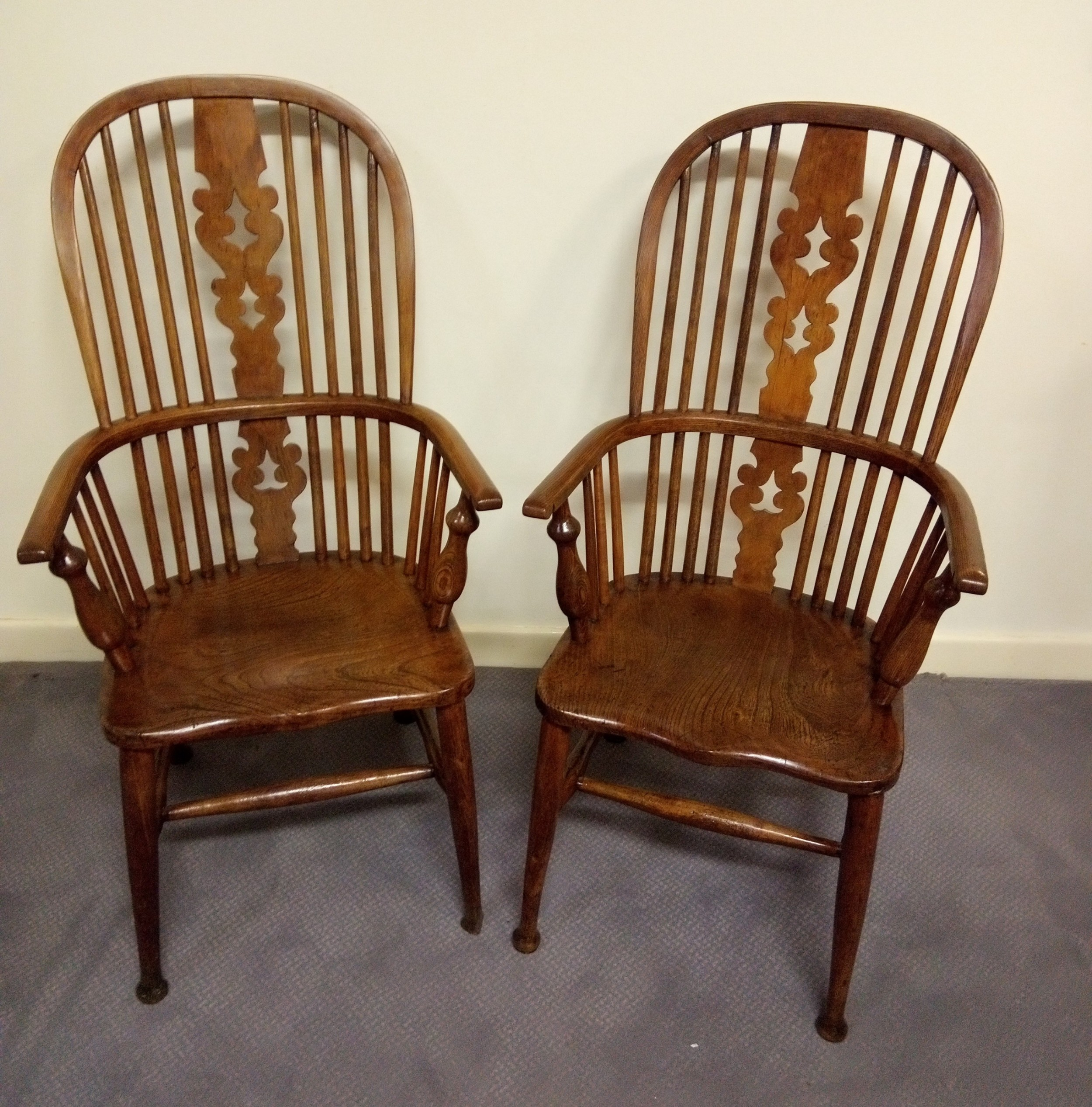 Attractive Pair Of High Back Windsor Arm Chairs | 657833 ...