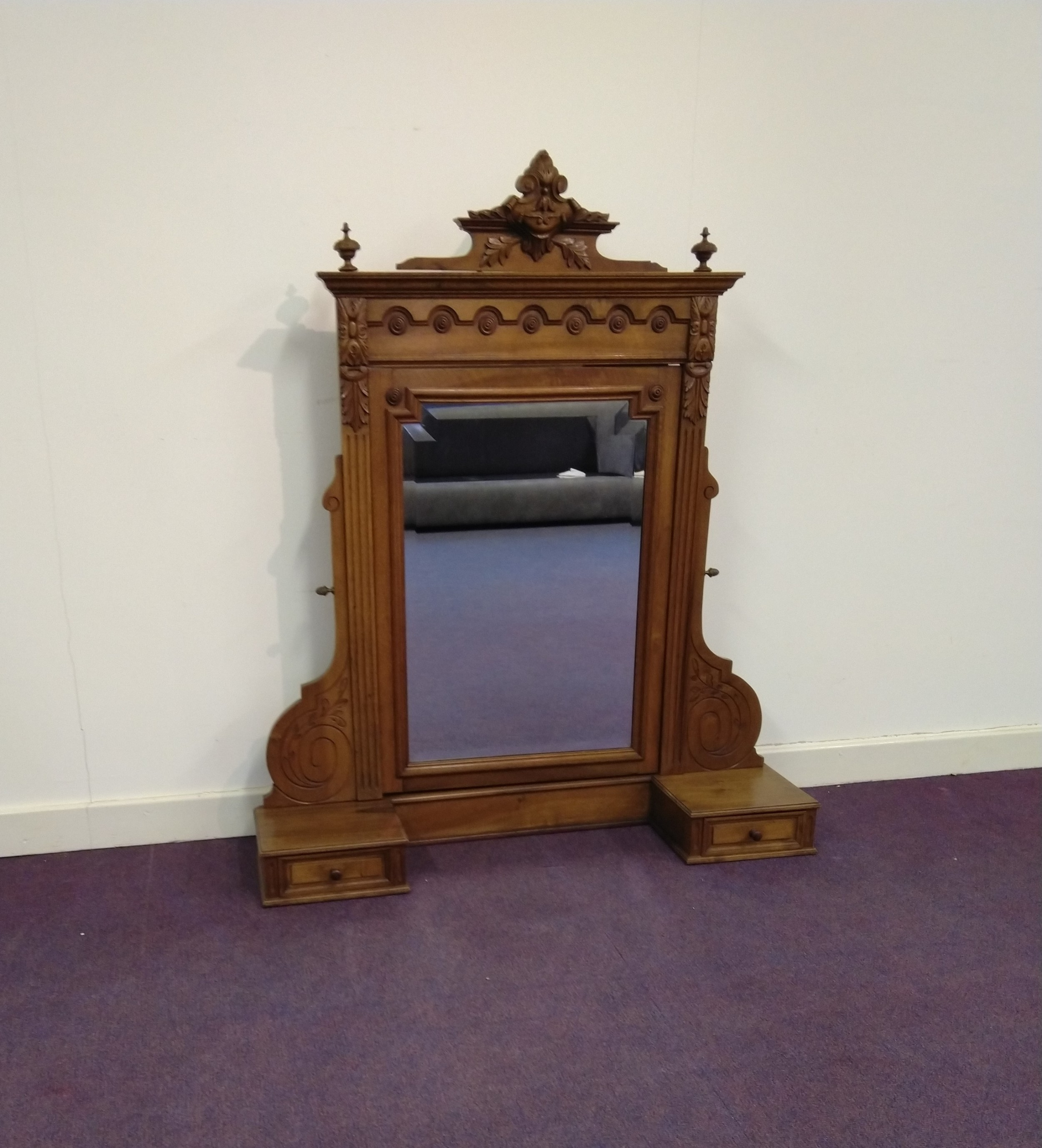 french walnut dressing table mirror and trinket drawers or overmantle