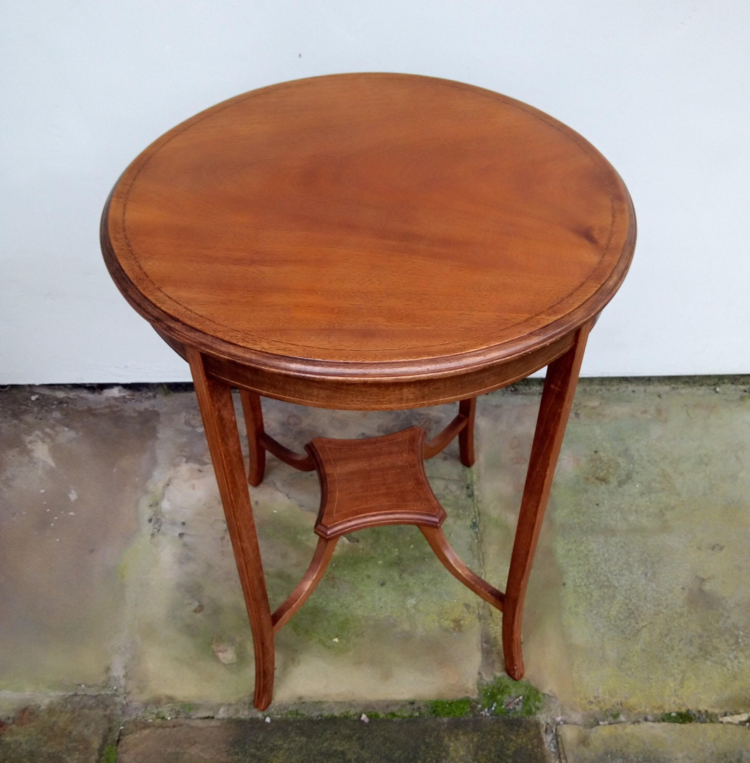 inlaid edwardian mahogany occasional table