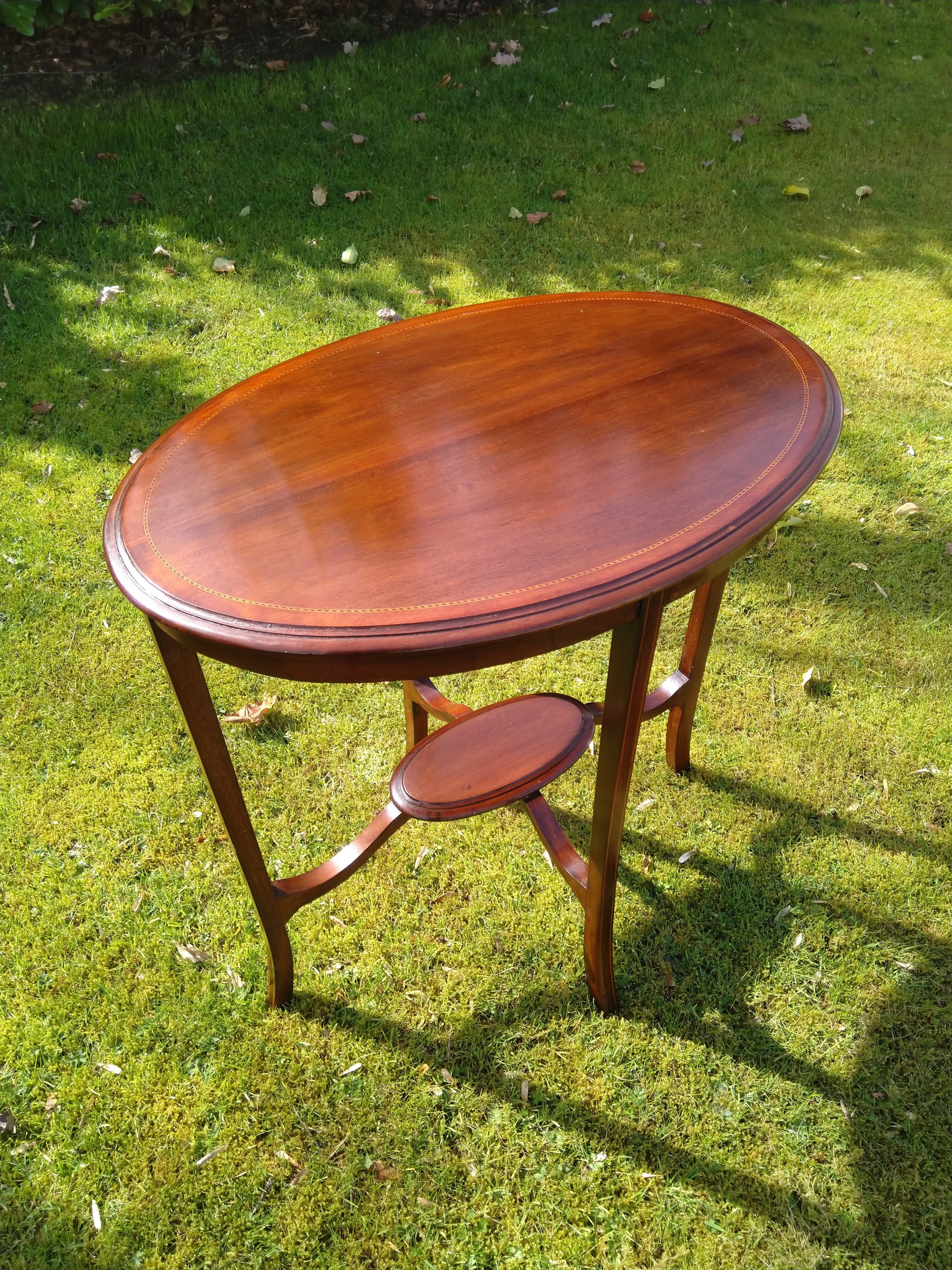 mahogany inlaid occasional table early 1900s