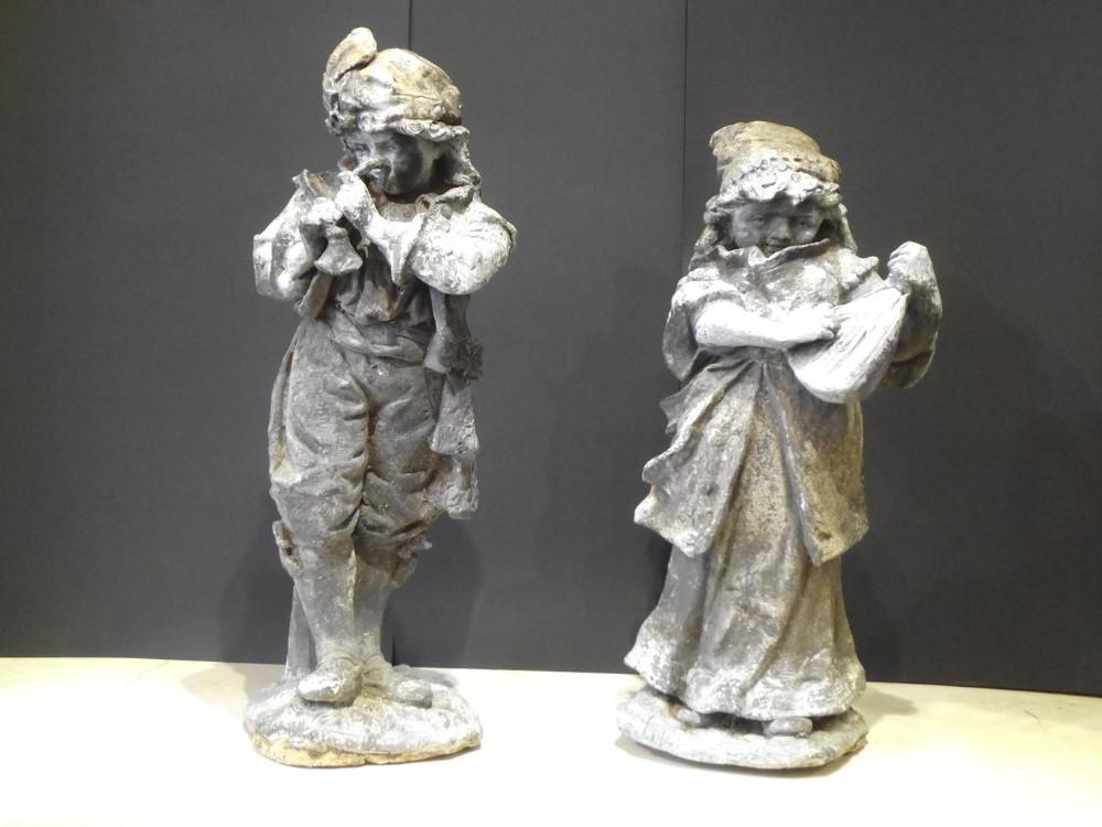 pair of 18th century cast lead figures