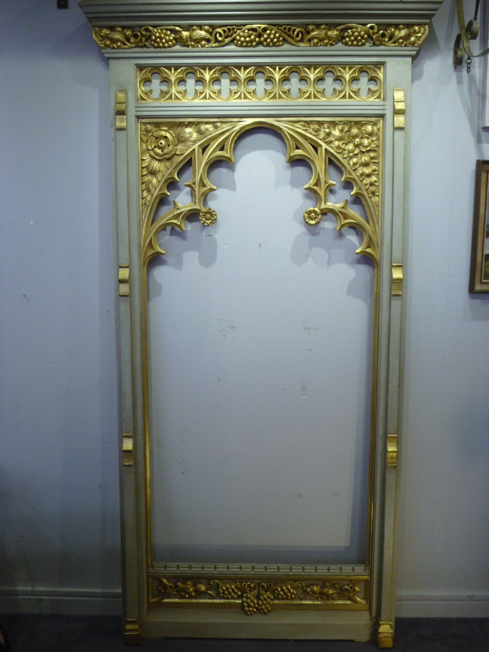 impressive gothic revival gilded and painted frame