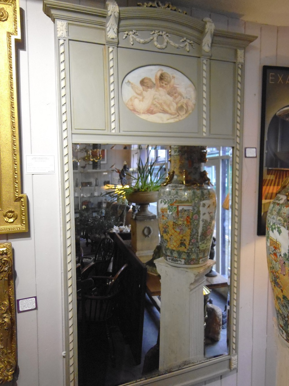 19th century french painted trumeau mirror