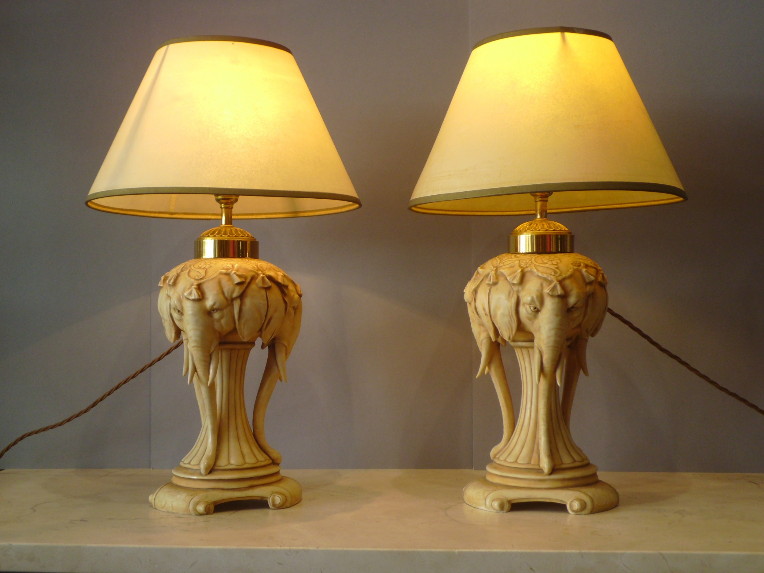 pair of painted porcelain elephant table lamps