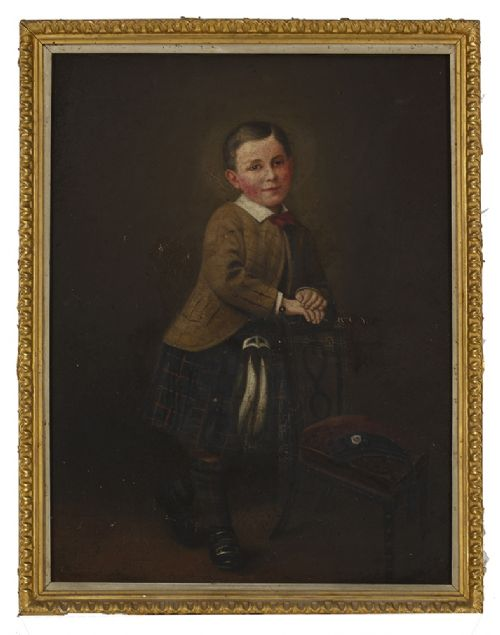 boy in tartan 19th century oil on canvas new
