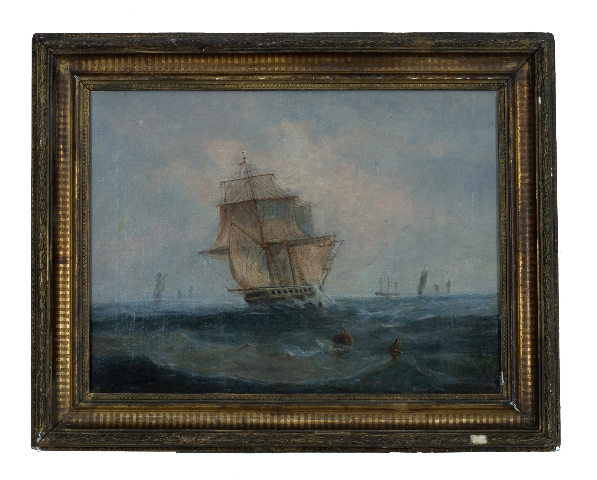 shipping off the coast 19th century oil on canvas