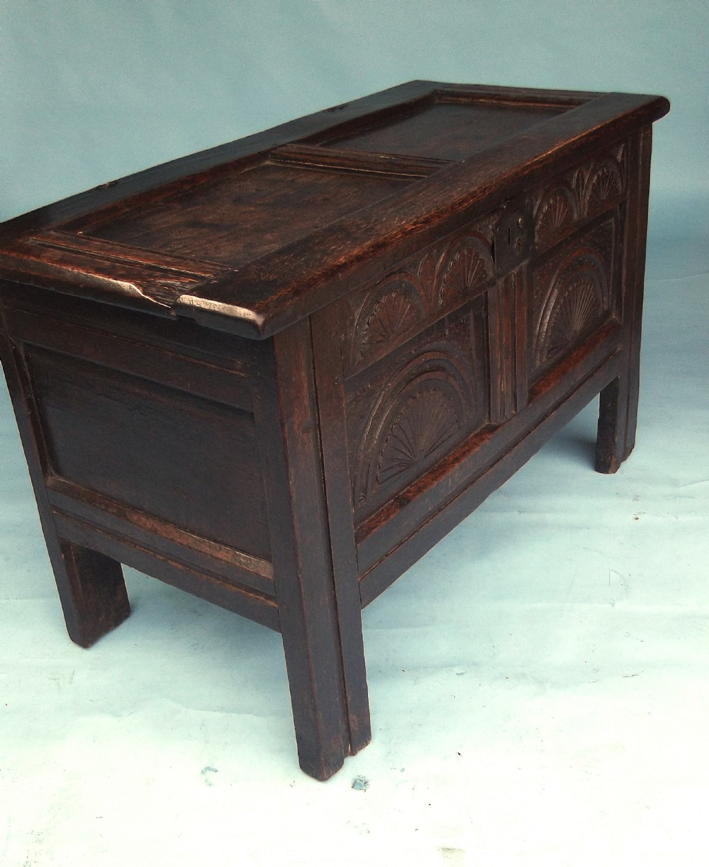 antique oak furniture early 17thc paneled coffer english c164060