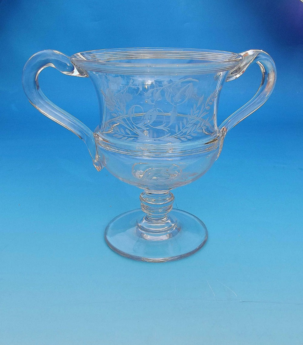 early 19thc glassware engraved loving cup english c180020
