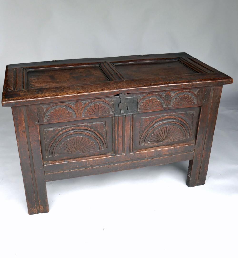 antique 17thc oak furniture joyned panelled coffer english c164060