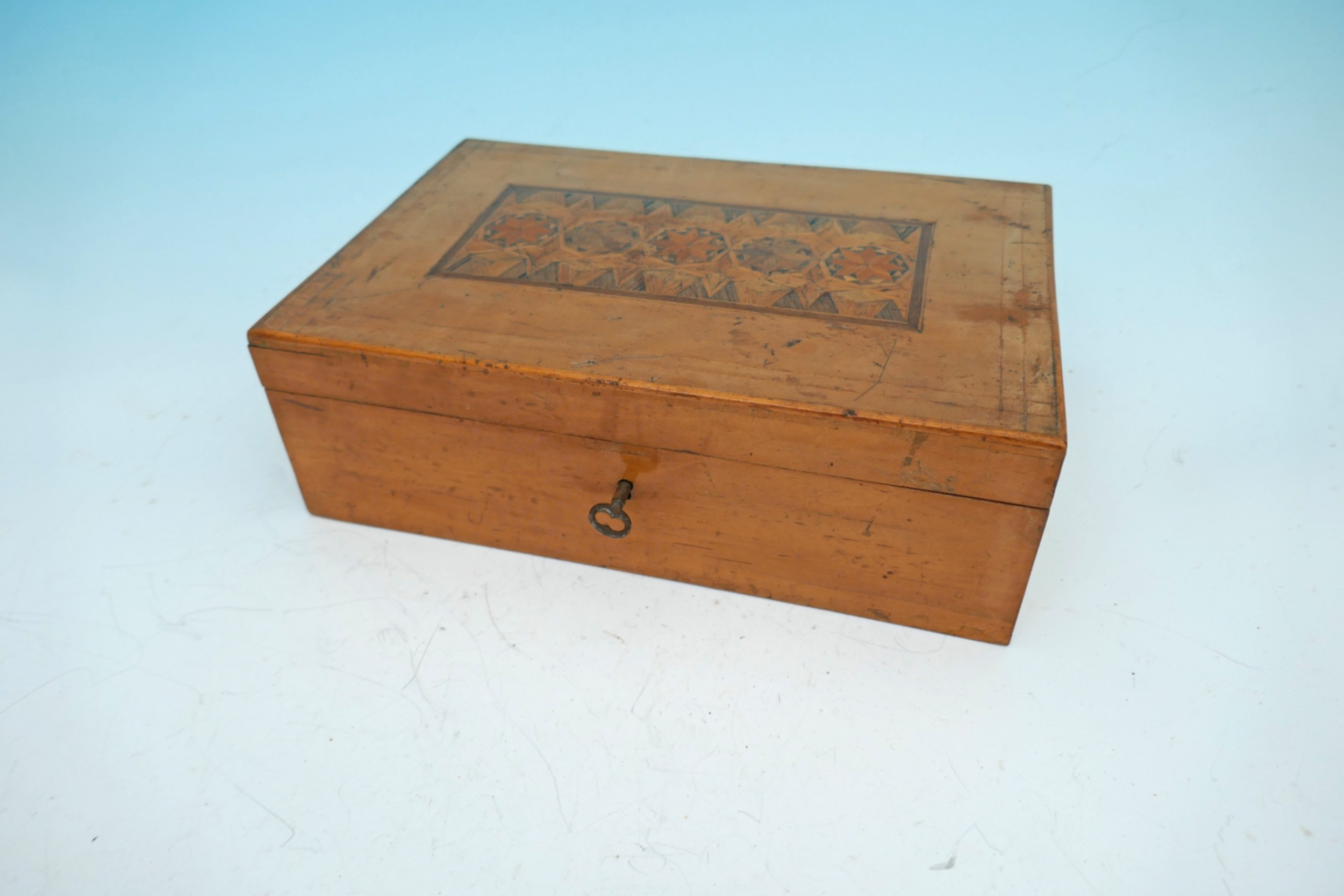 antique early 19thc fruitwood parquetry work box english c180020