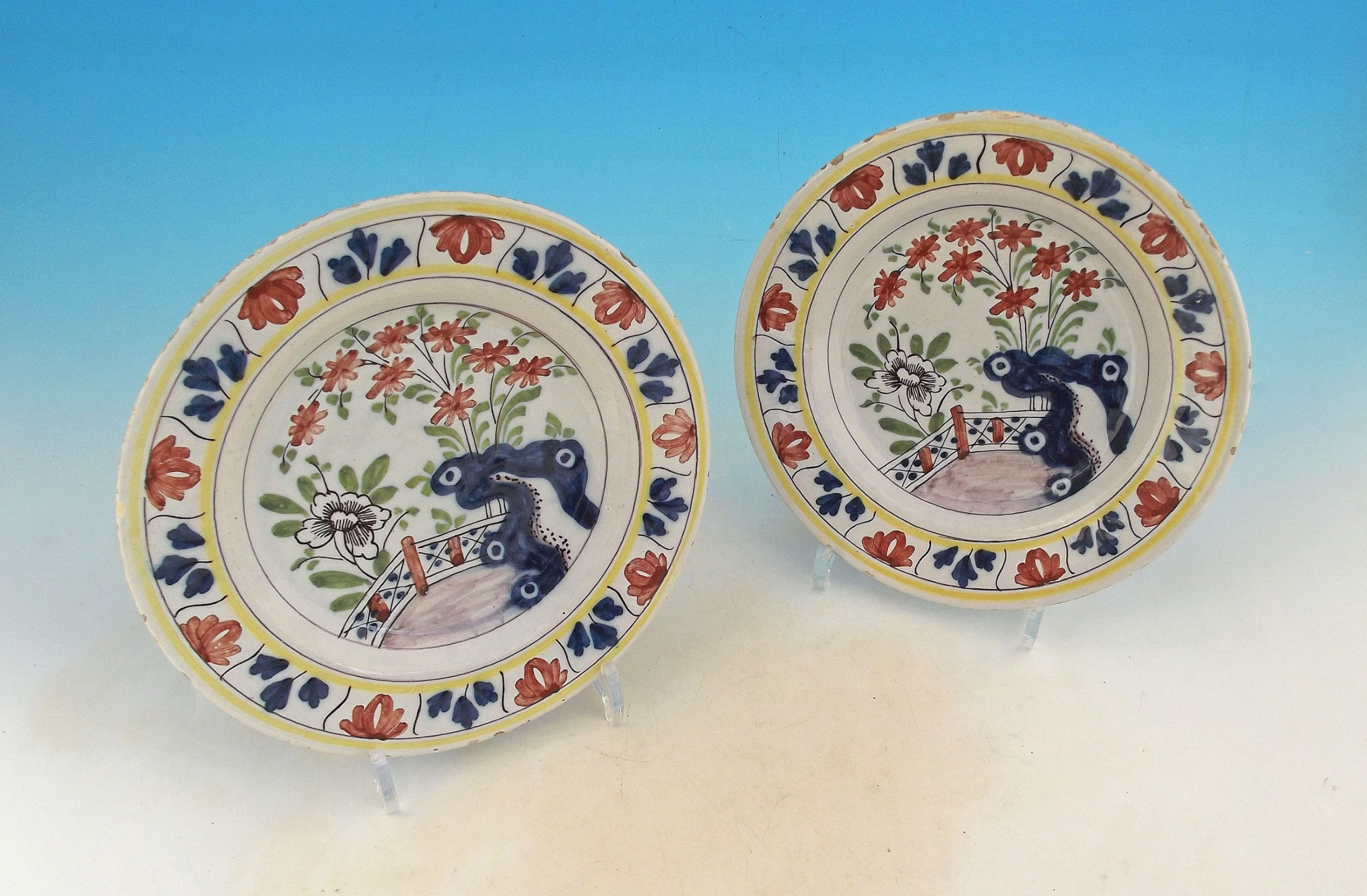 a fine pair of 18thc polychrome pottery delftware plates dutch c177080