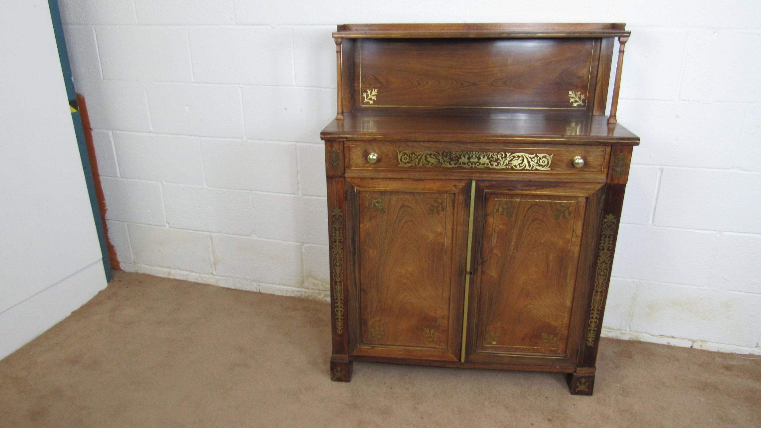regency small brass chiffonier