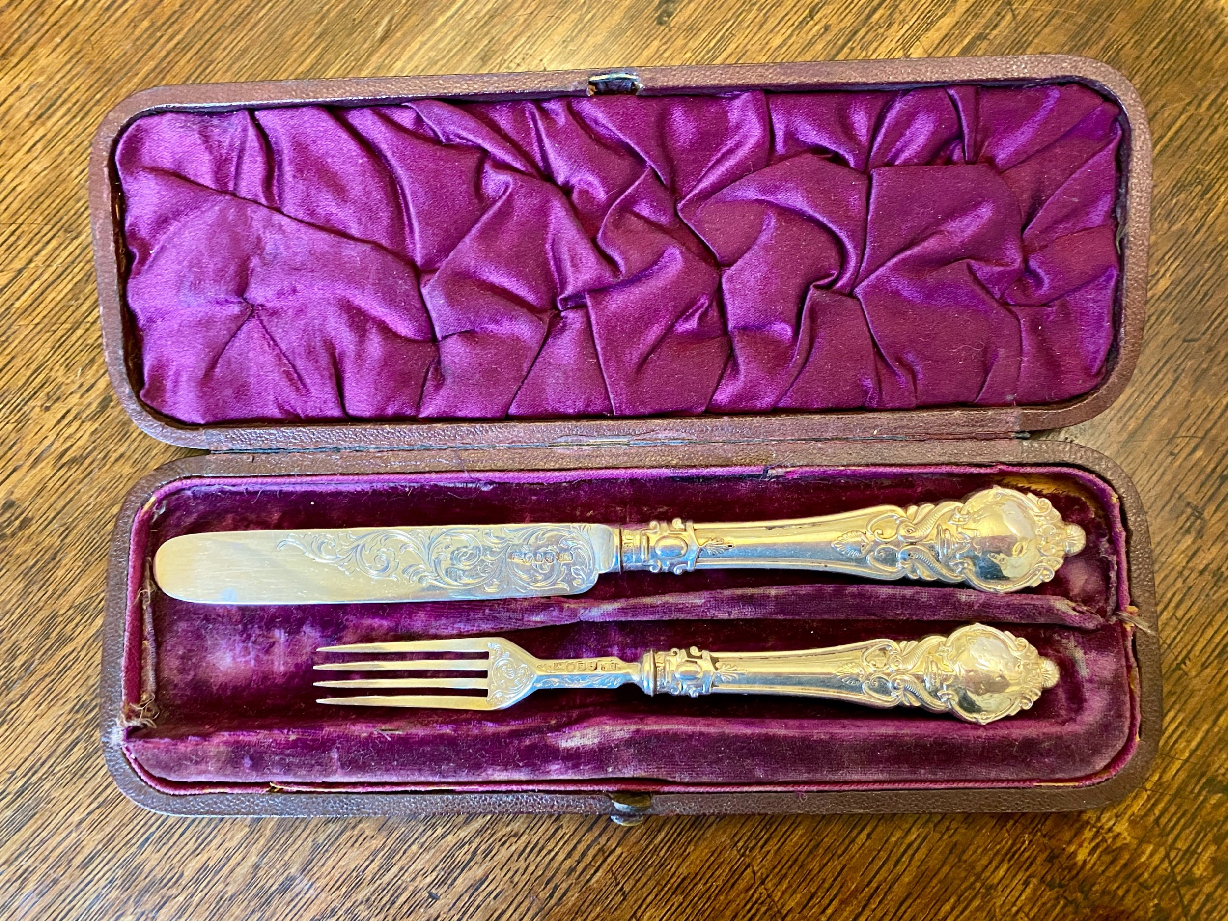 boxed victorian silver christening set
