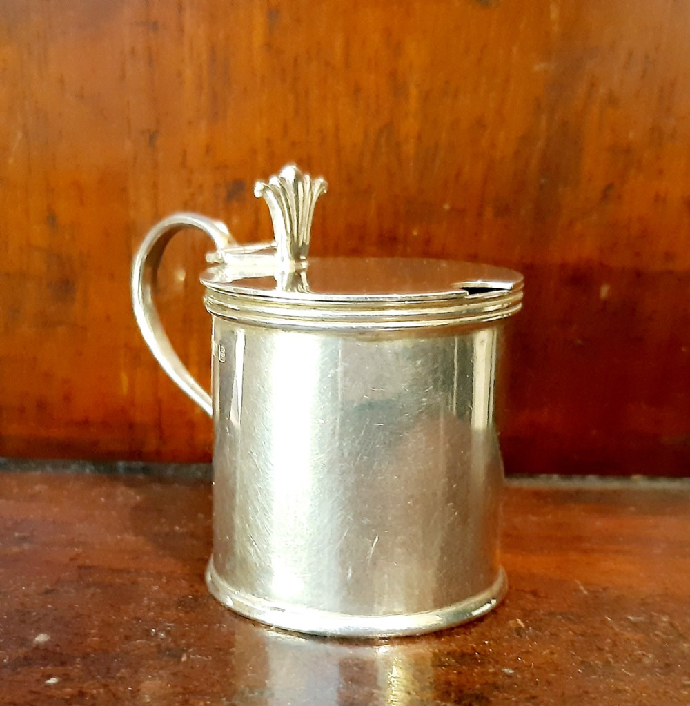 small silver mustard pot with blue glass lining