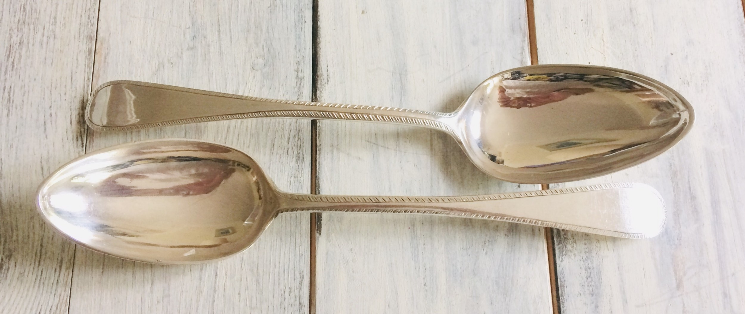 pair of scottish georgian silver serving spoons