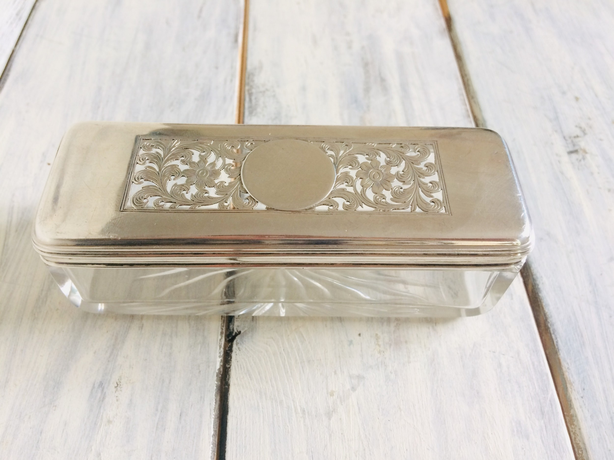 georgian glass box with a silver cover