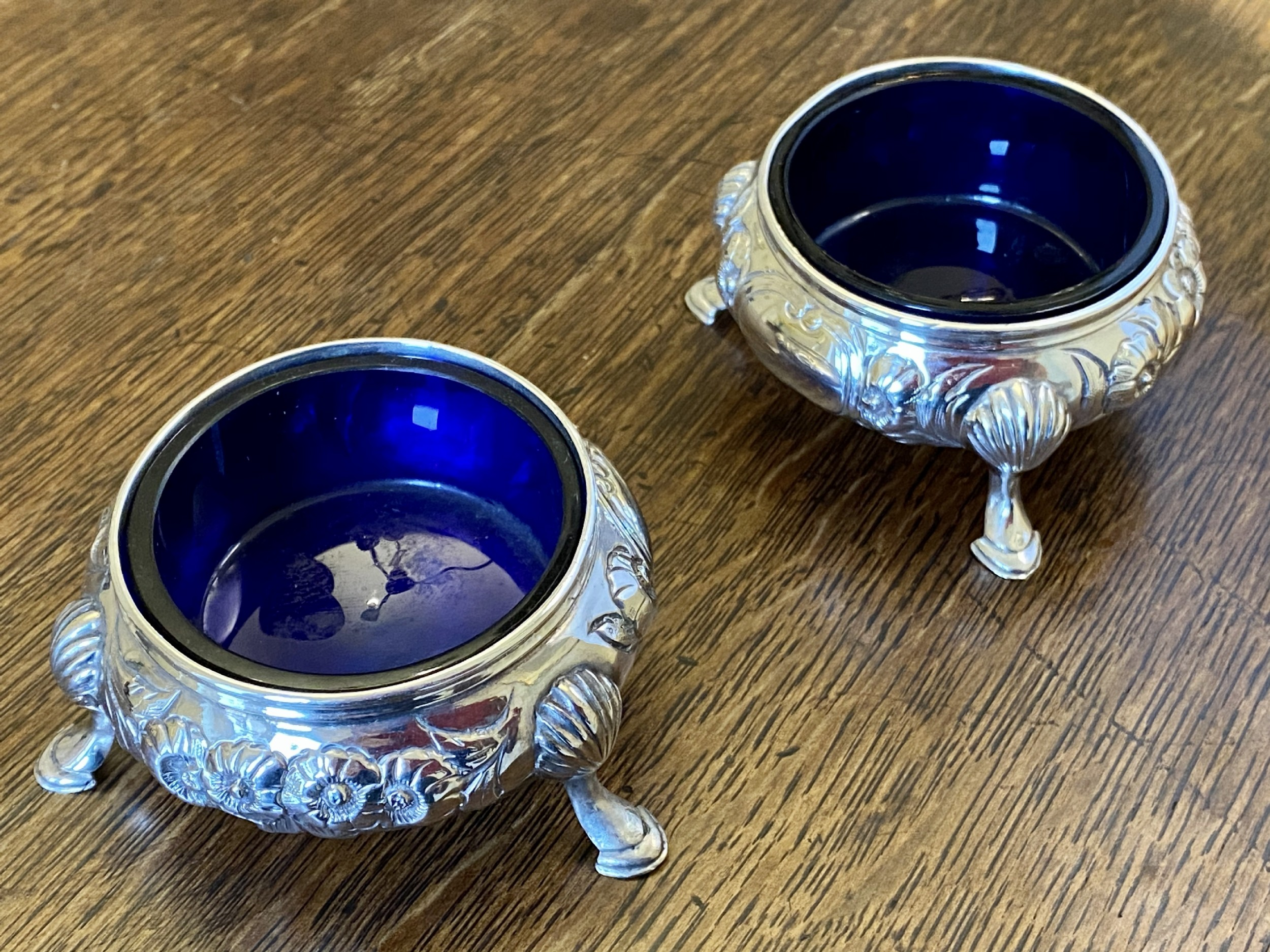 pair of victorian silver salts