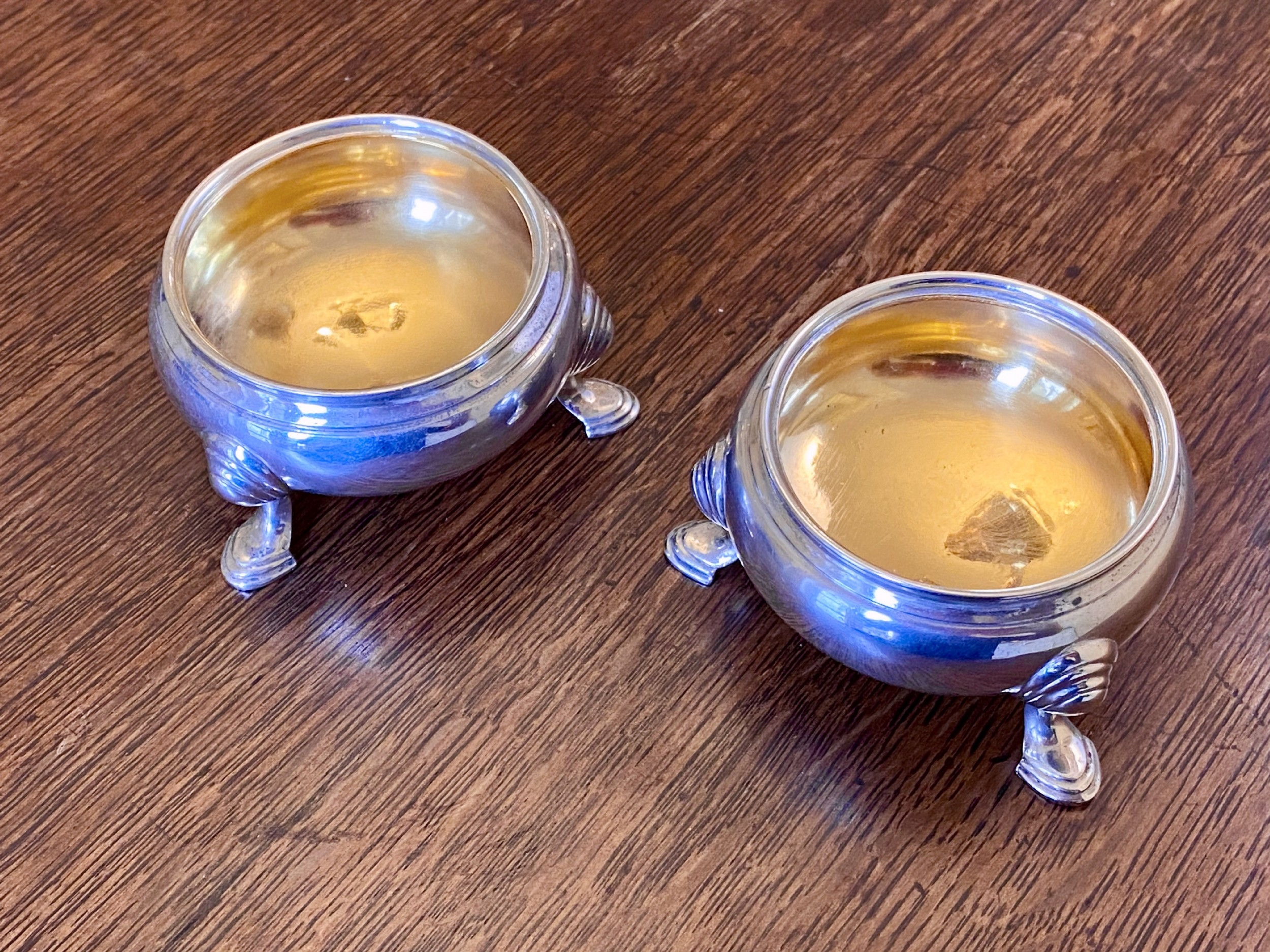 pair of silver 1939 salts with gilded bowls