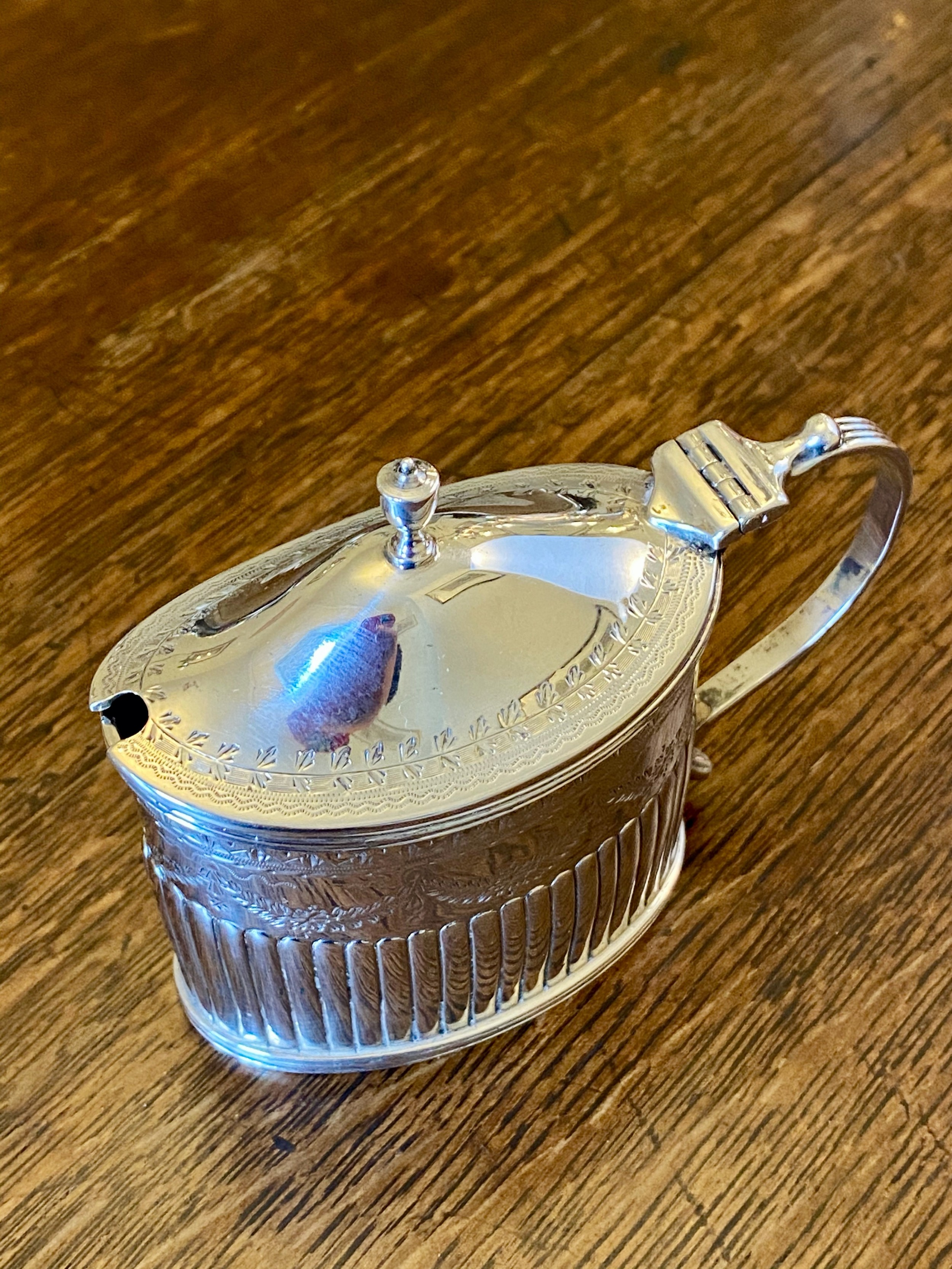 victorian silver mustard with blue glass liner