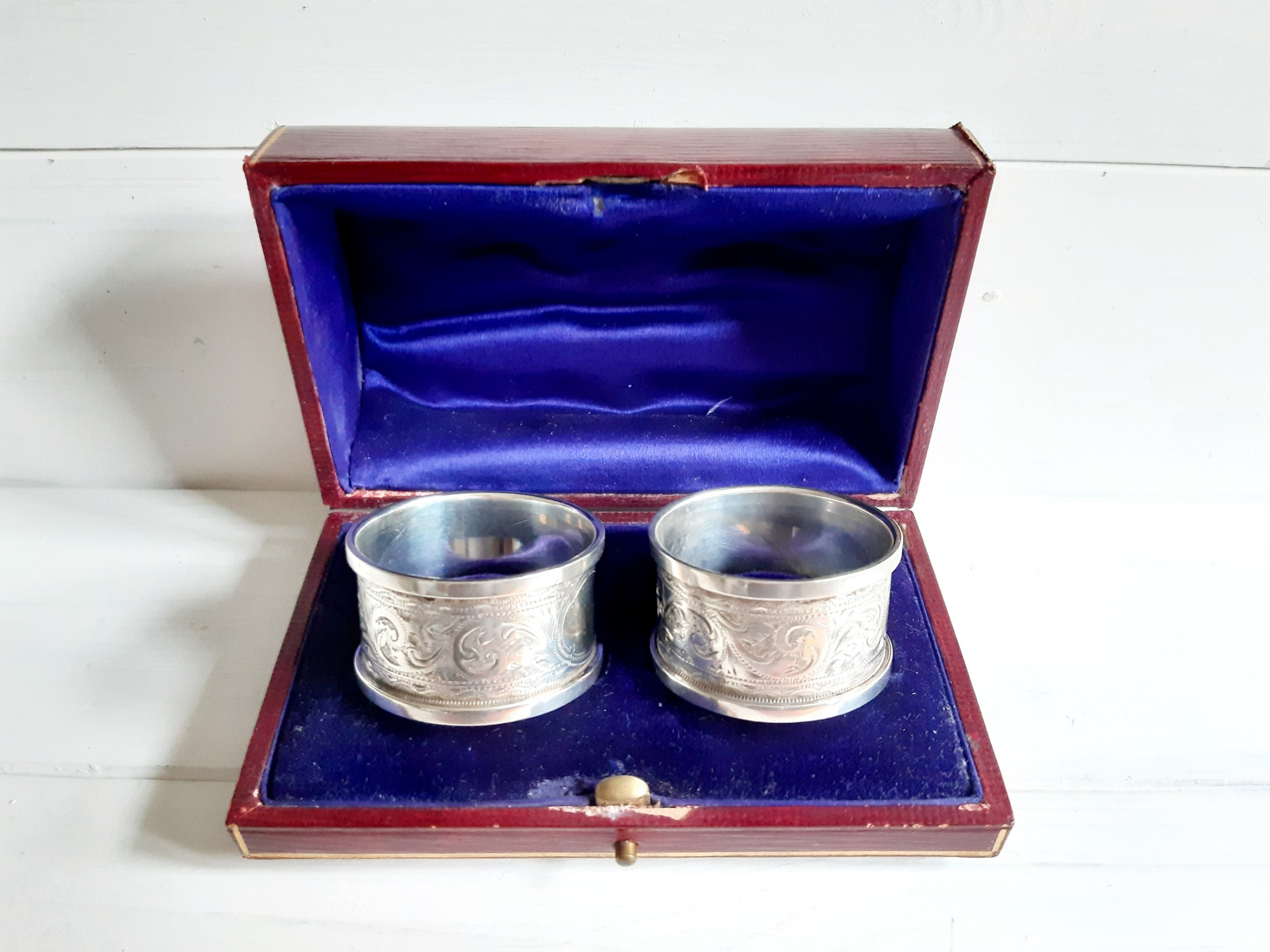 boxed edwardian silver napkin rings