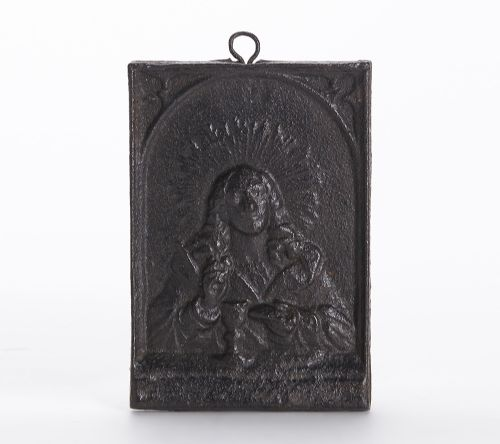 antique moulded religious iron communion plaque 1819th c