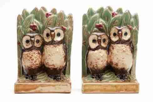 scarce pair doulton lambeth harry simeon owl book ends 20 c