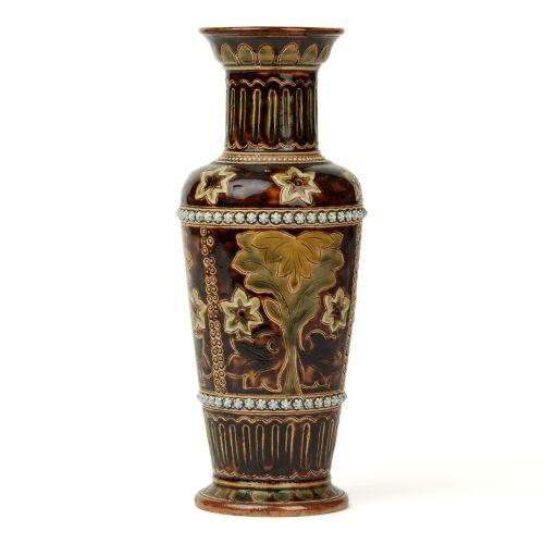 doulton lambeth louisa edwards art pottery vase 1876
