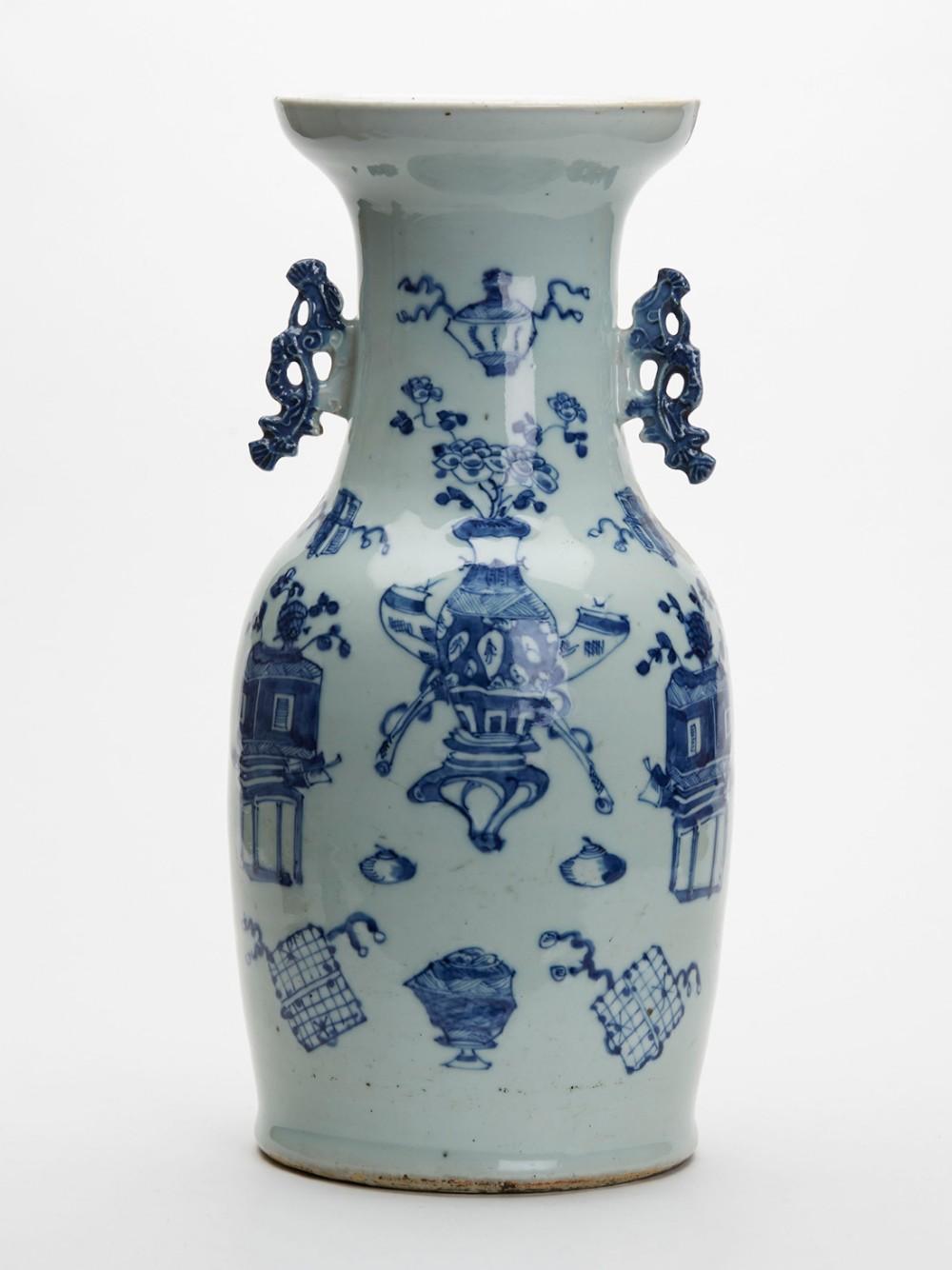 large antique chinese celadon blue white vase 19th c