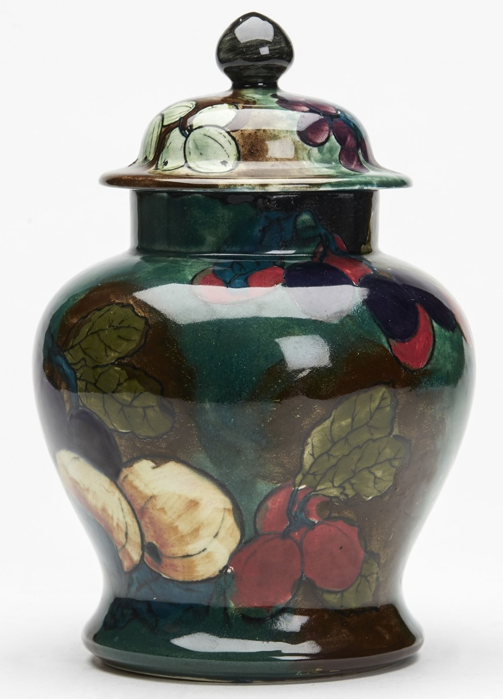 hancock fruit hand painted lidded jar by fx abraham c1920