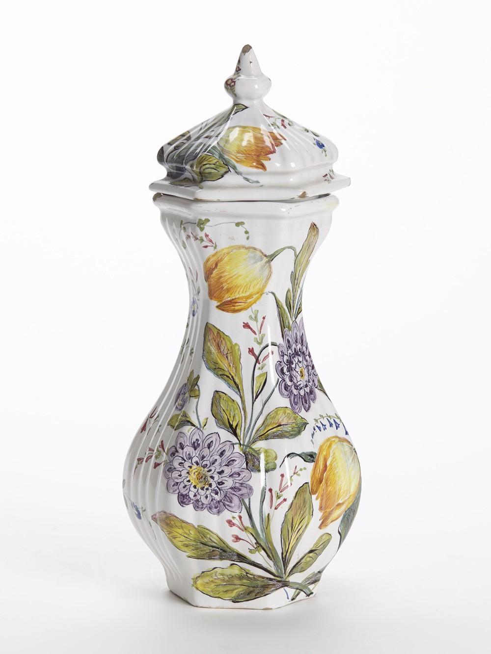 antique le nove floral painted faience lidded jar 19th c