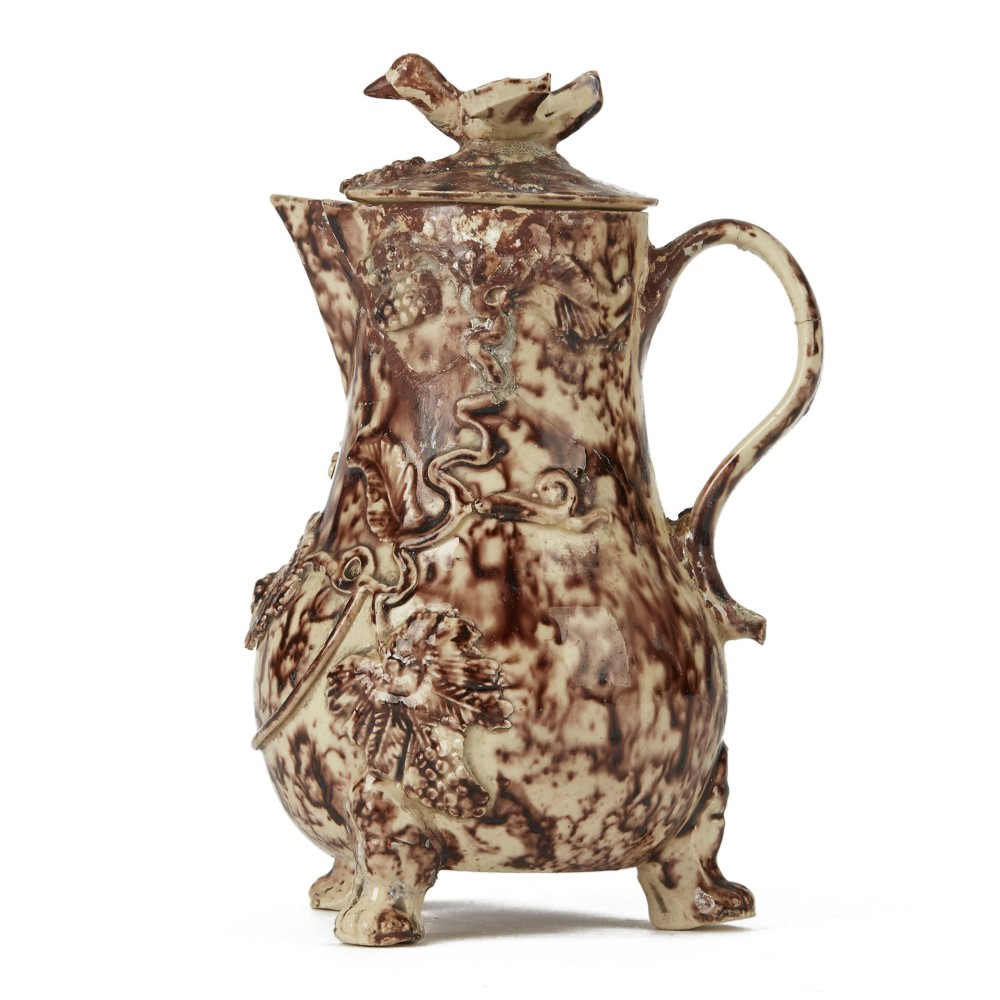 whieldon cream ware lidded pottery milk jug c175080
