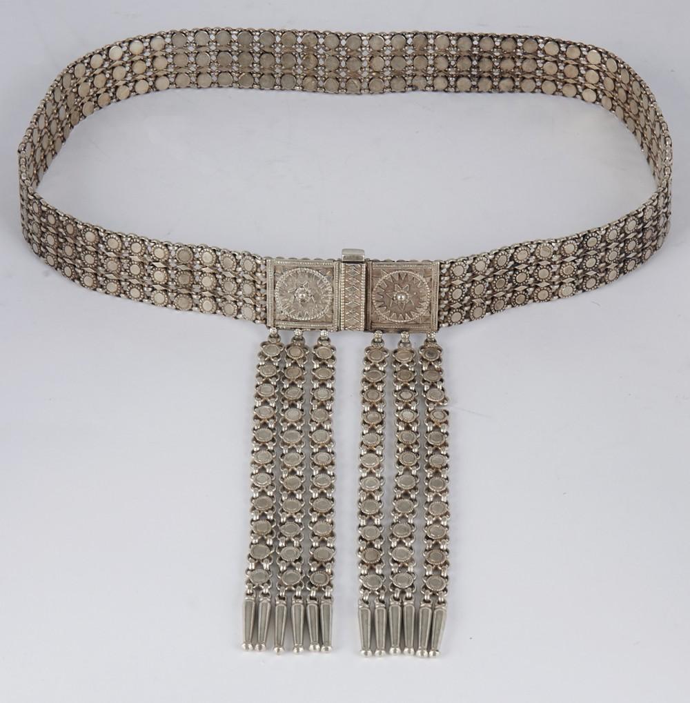 antique indian ornate silver metal belt 1920th c