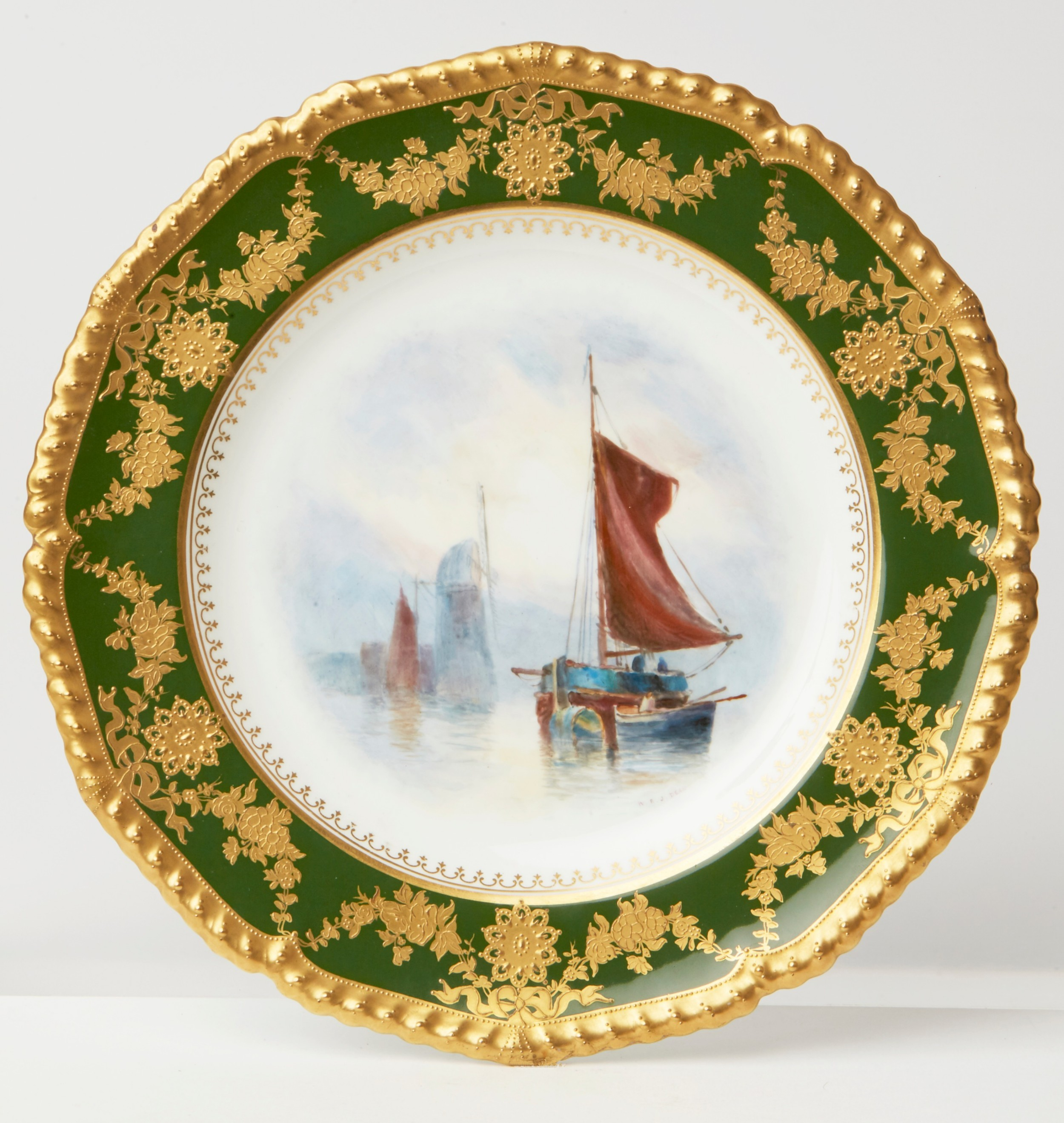 royal crown derby hand painted cabinet plate by dean 1917
