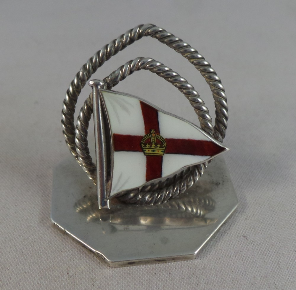antique silver and enamel ships flag menu holder birmingham 1904