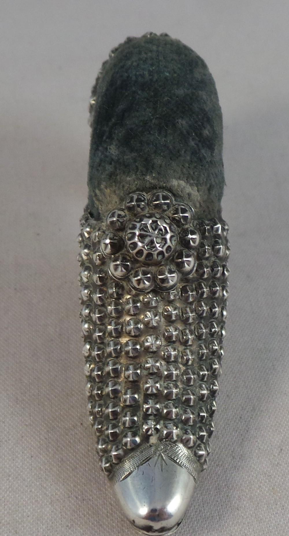 very nice antique silver shoe pin cushion birmingham 1907