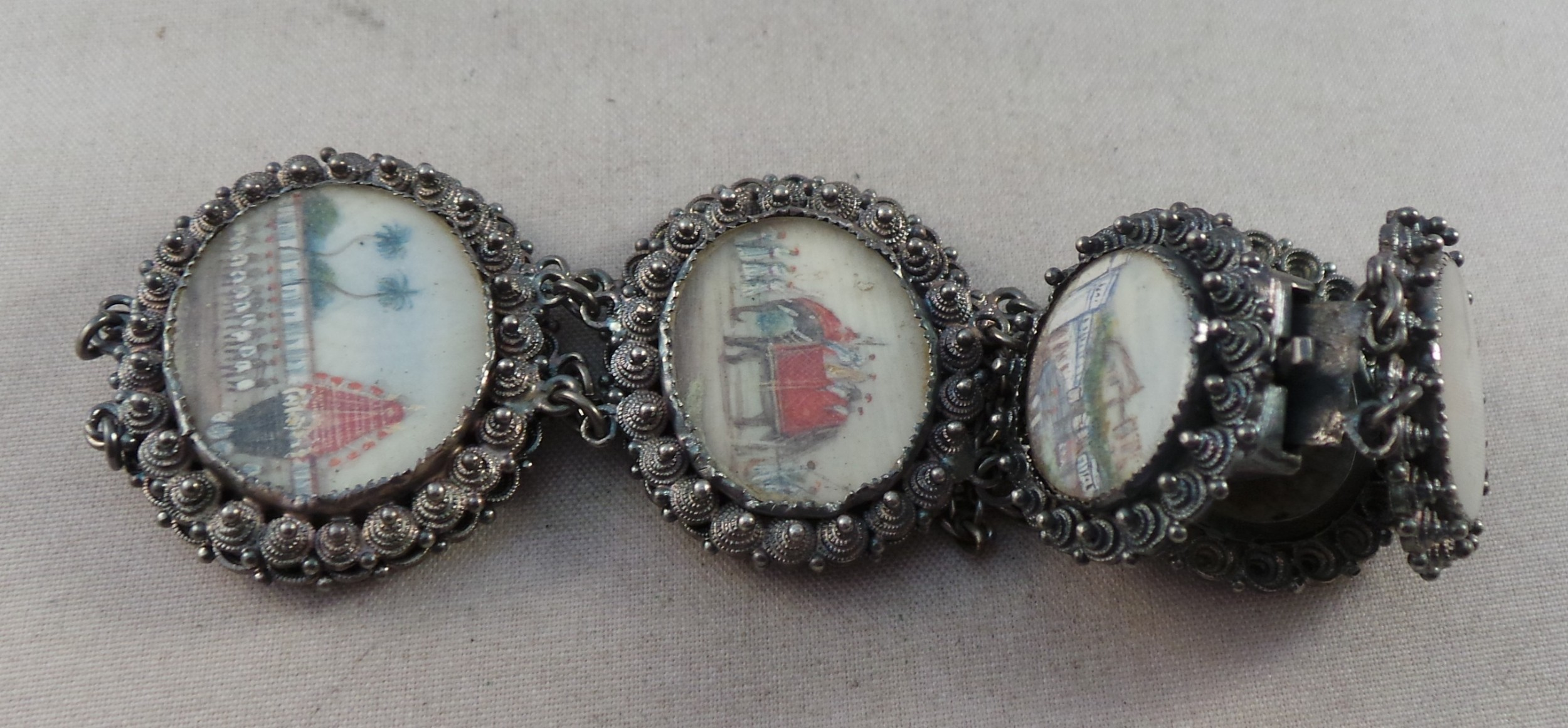 good antique indian silver bracelet with ivory miniatures