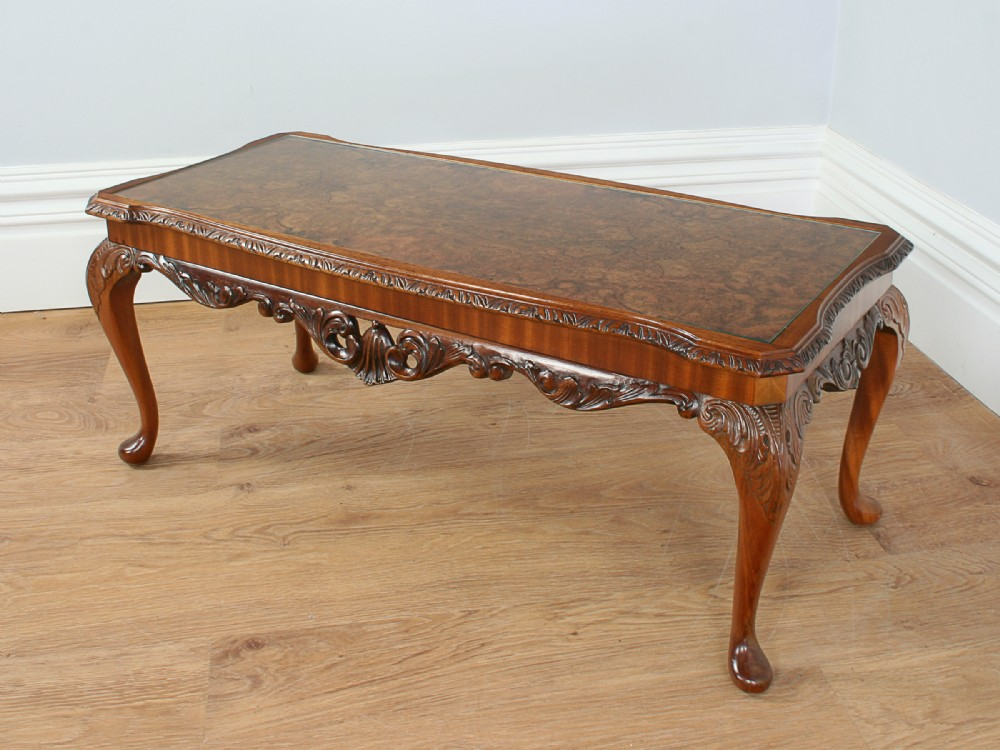 carved burr walnut glass rectangular coffee table circa