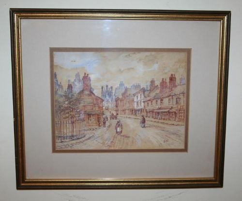 antique watercolour chester city scene painting c 1886