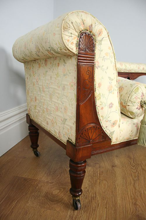 Edwardian mahogany rail back cream upholstered chaise for Antique edwardian chaise longue